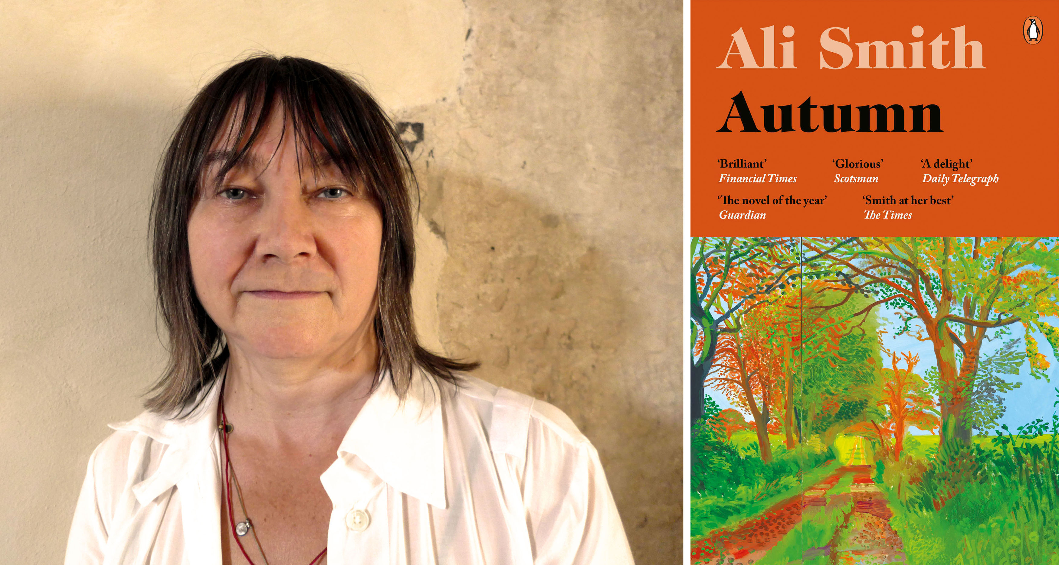 Ali Smith with the cover of her book Autumn (Man Booker/PA)