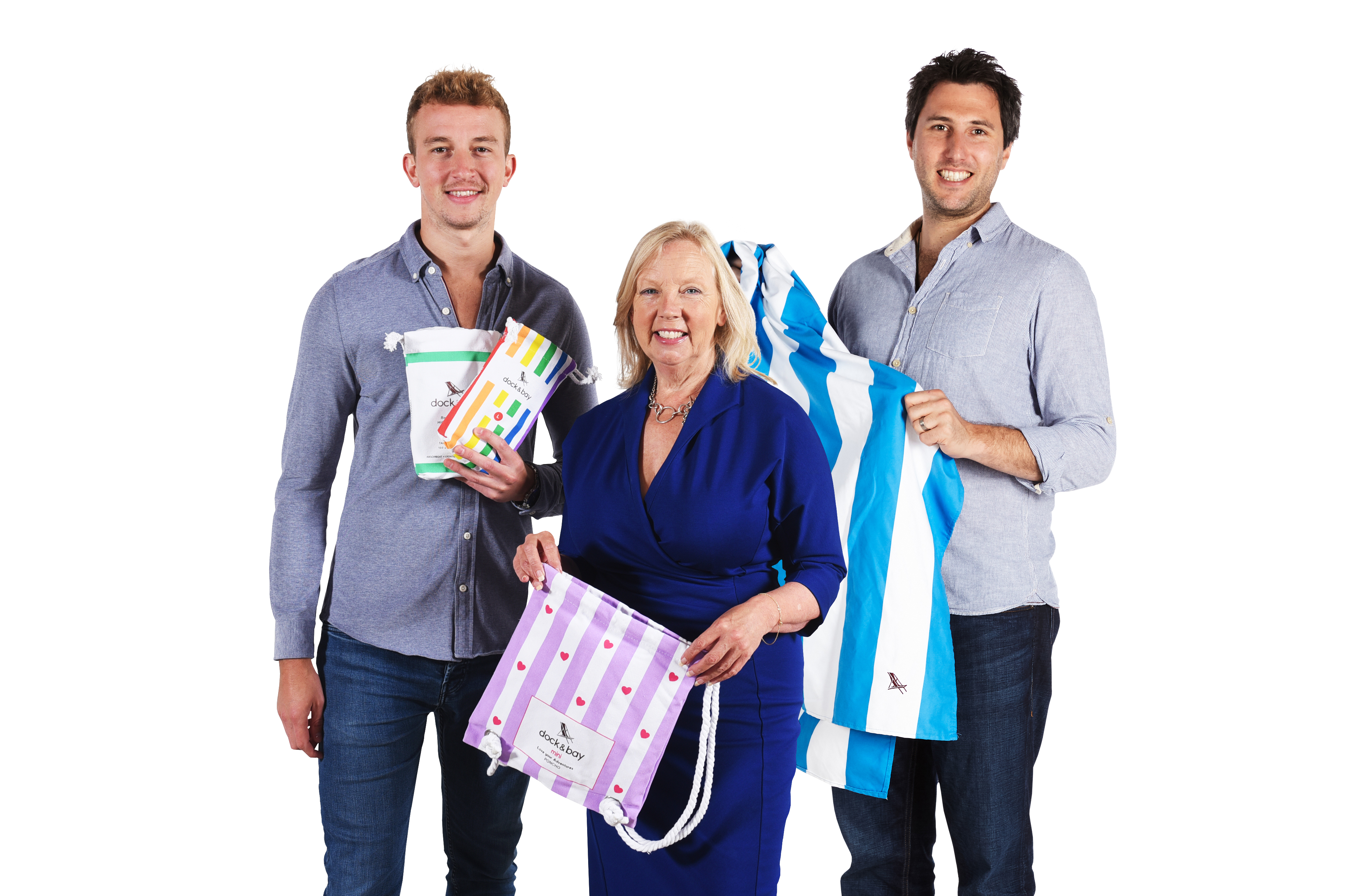 Deborah Meaden with Dock & Bay founders Andy (left) and Ben (right) (Charlie Glover/PA)