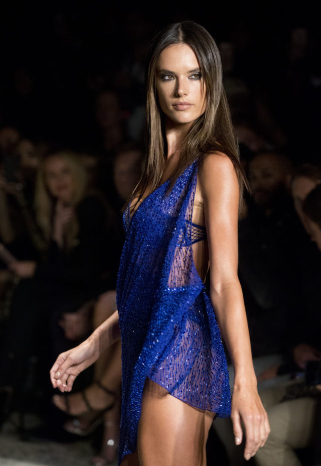 Model Alessandra Ambrosio on the catwalk during the Julien Macdonald London Fashion Week SS18 show