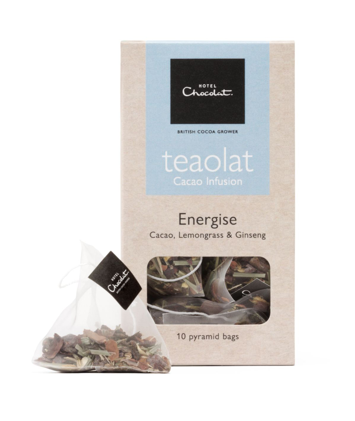 Hotel Chocolat Teaolat Energise - Cacao Lemongrass & Ginseng, £5 for box of 10 bags (Hotel Chocolat/PA)
