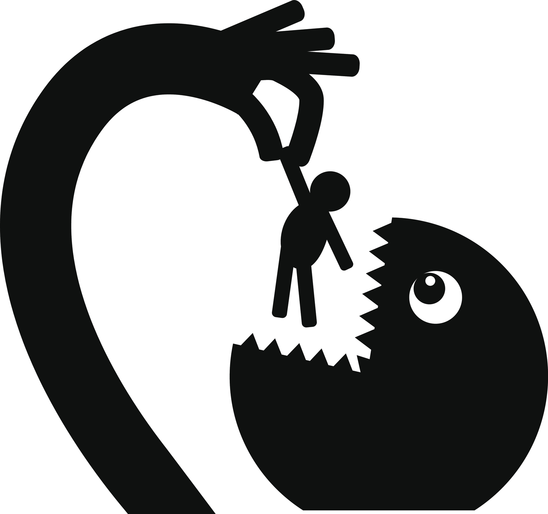 Black monster silhouette holds a limp person in his hand and is going to eat him (Thinkstock/PA)