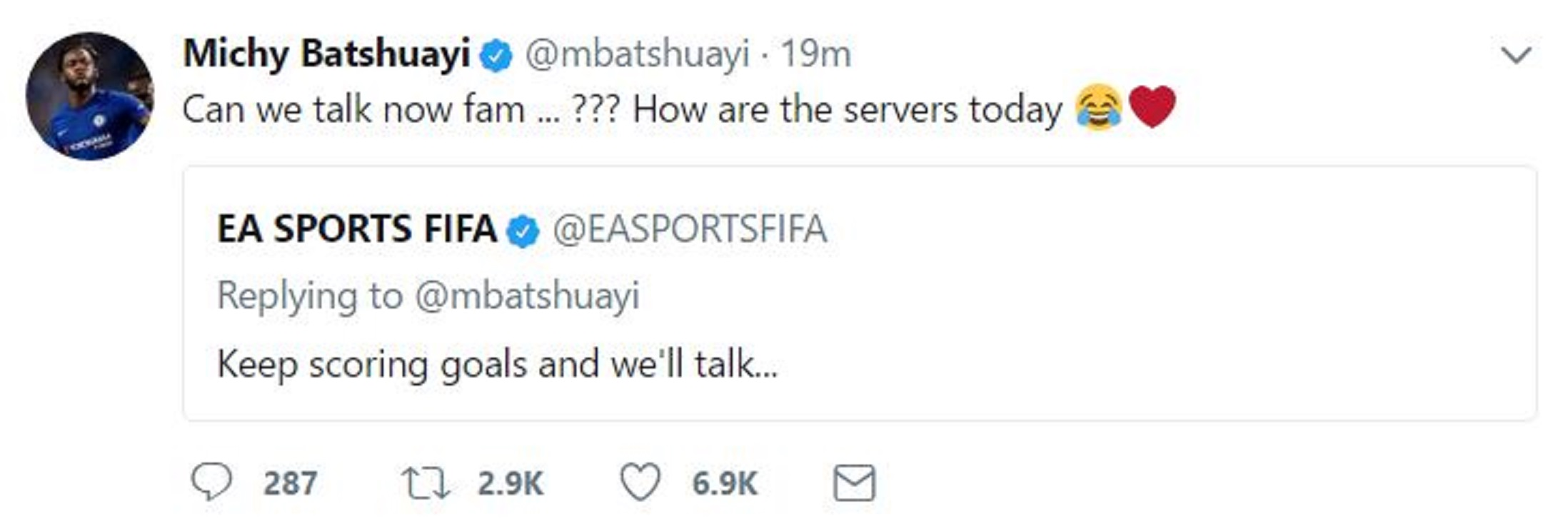 A screenshot of Michy Batshuayi's tweet to EA Sports