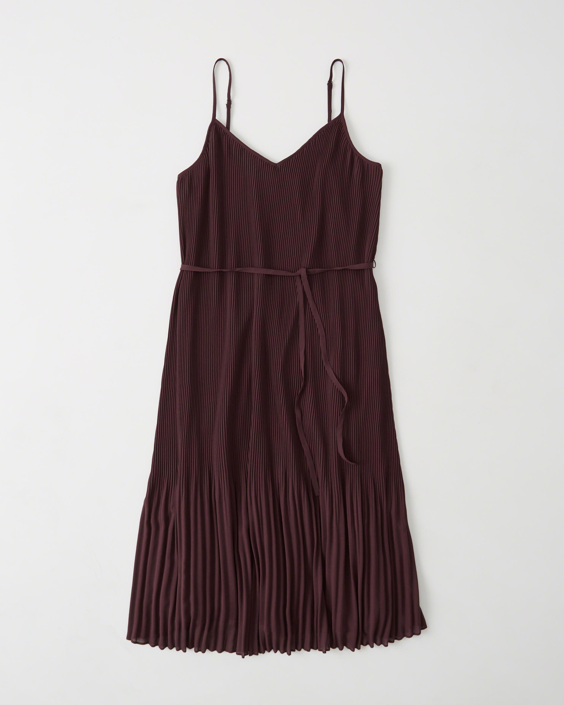 Abercrombie & Fitch Chiffon Pleated Midi Dress in Burgundy