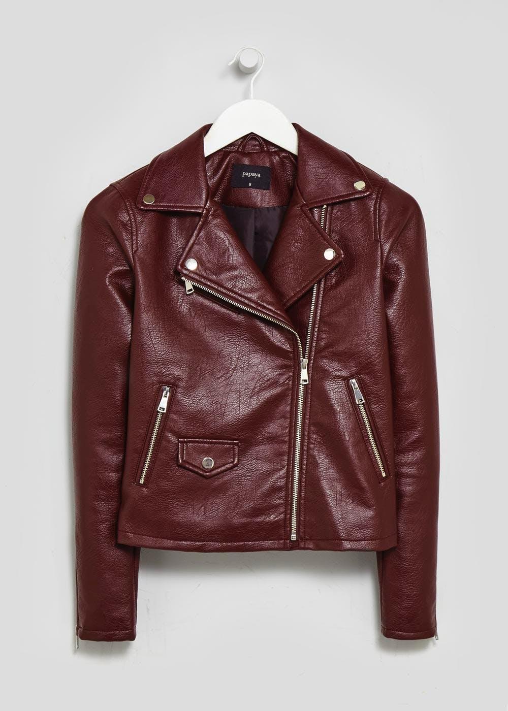 Matalan Burgundy PU Biker Jacket