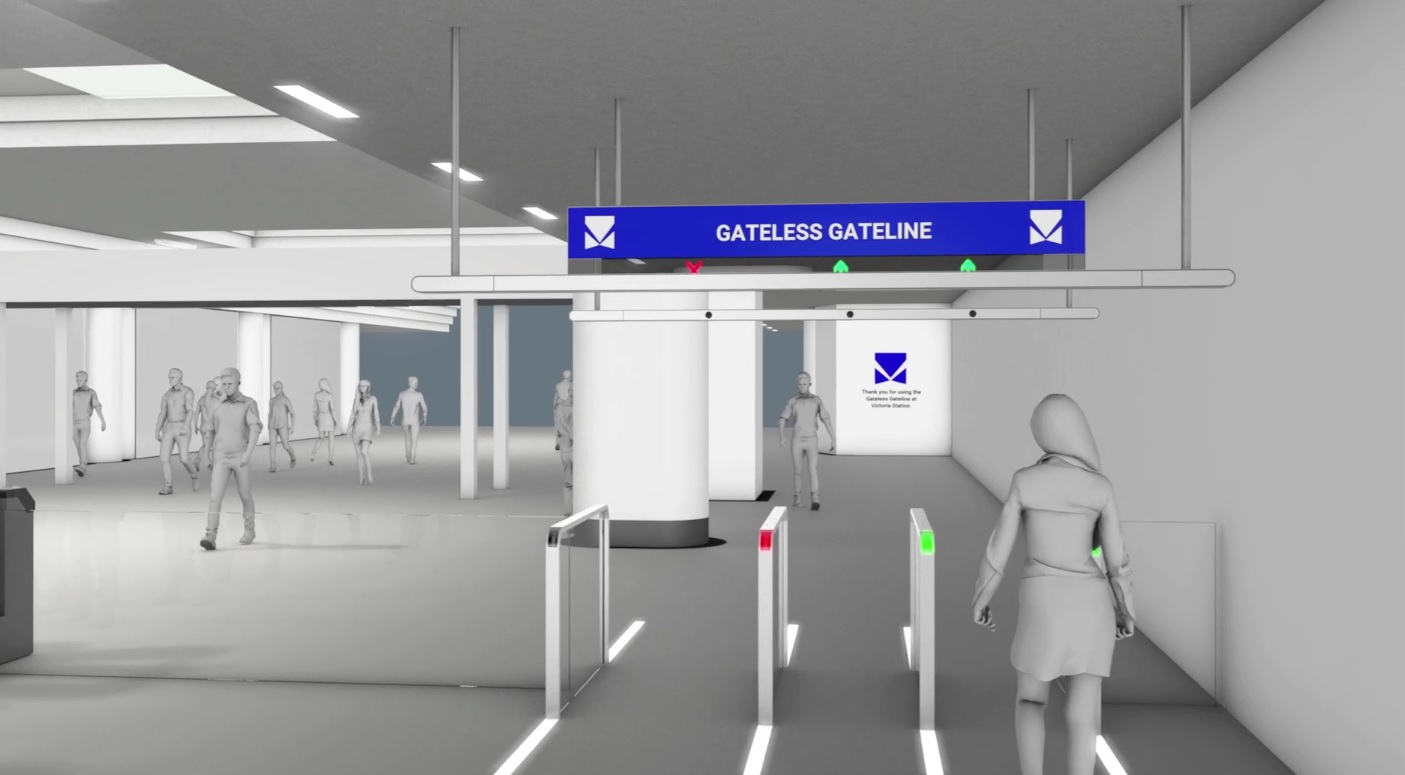Open corridors replace barriers in this concept station