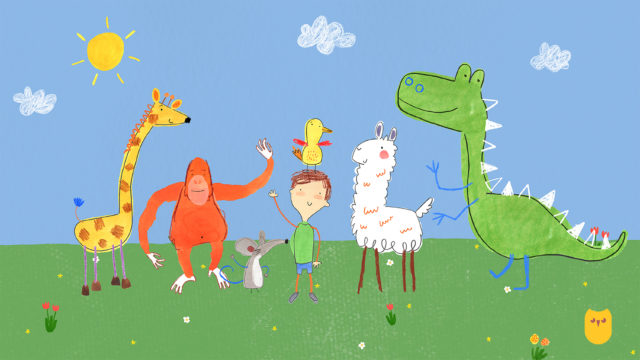 Pablo uses his magic crayons to bring to life his animal friends Wren, Noa, Llama, Tang, Mouse and Draff (BBC/PA)