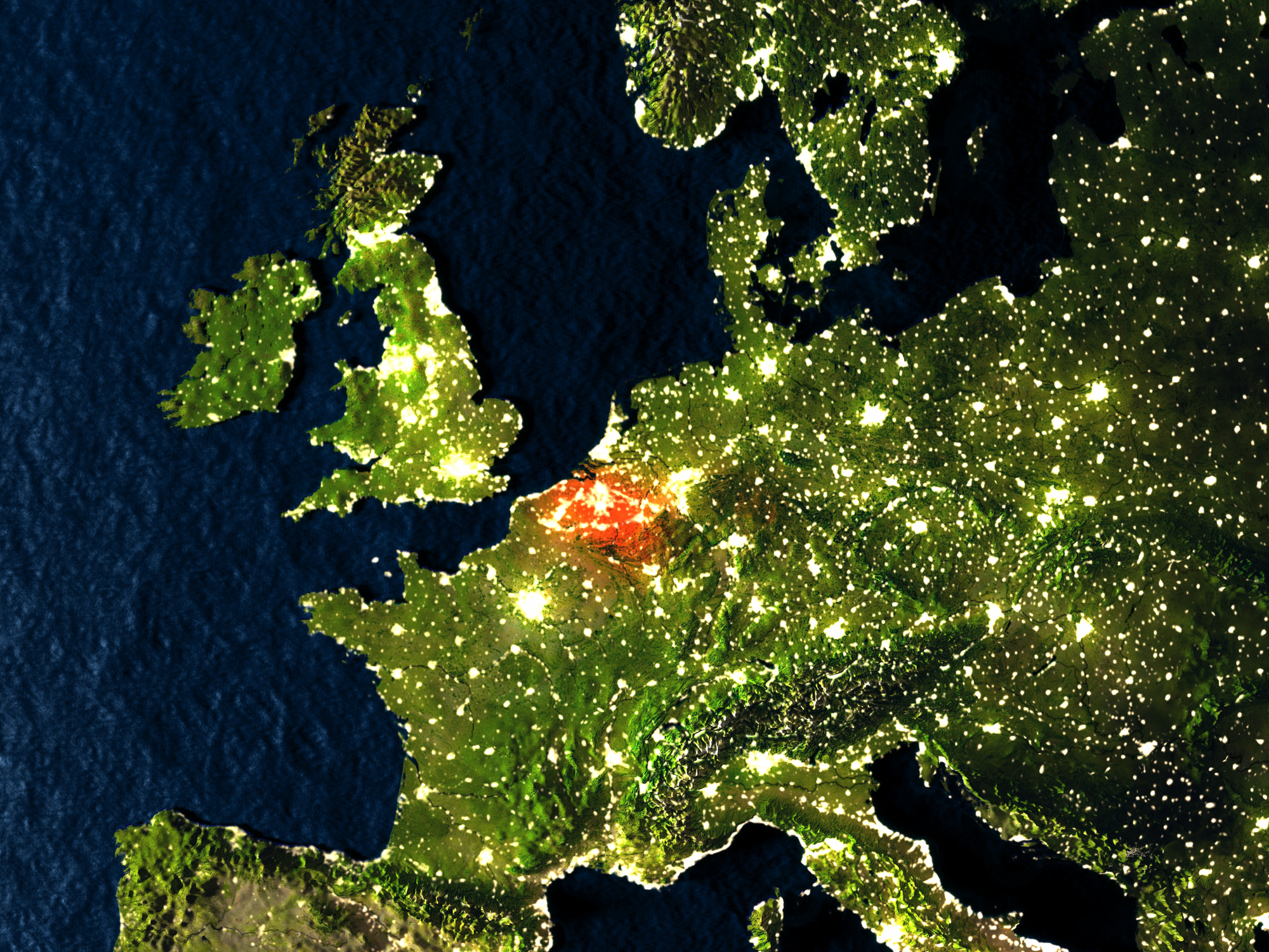 Belgium from space at night. (Thinkstock/PA)
