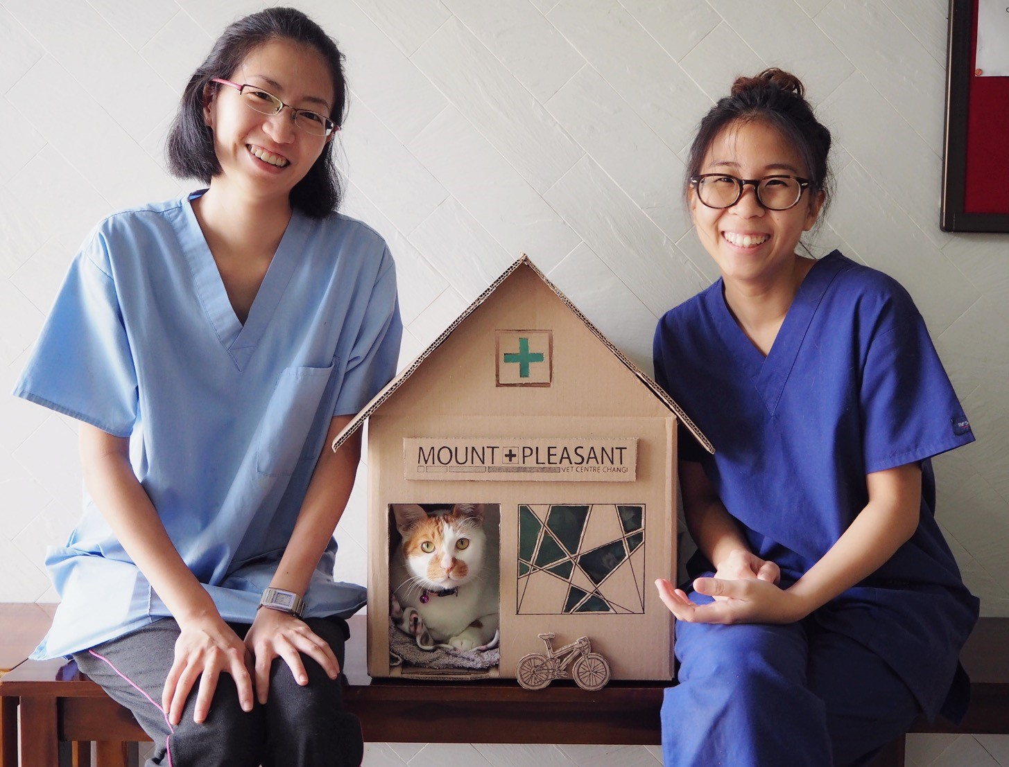 Gillian and Dorothy with the vet clinic