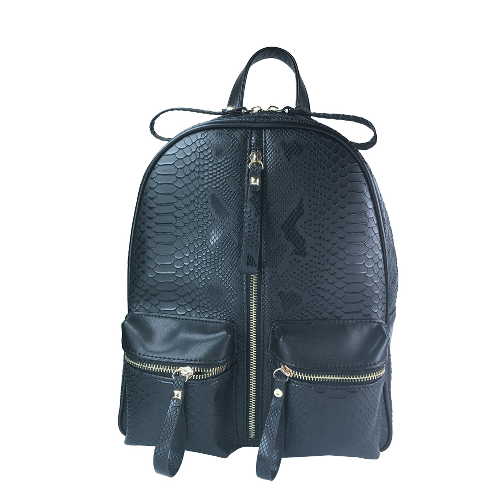 Liquorish Black Faux Snake Skin Backpack (Liquorish/PA)