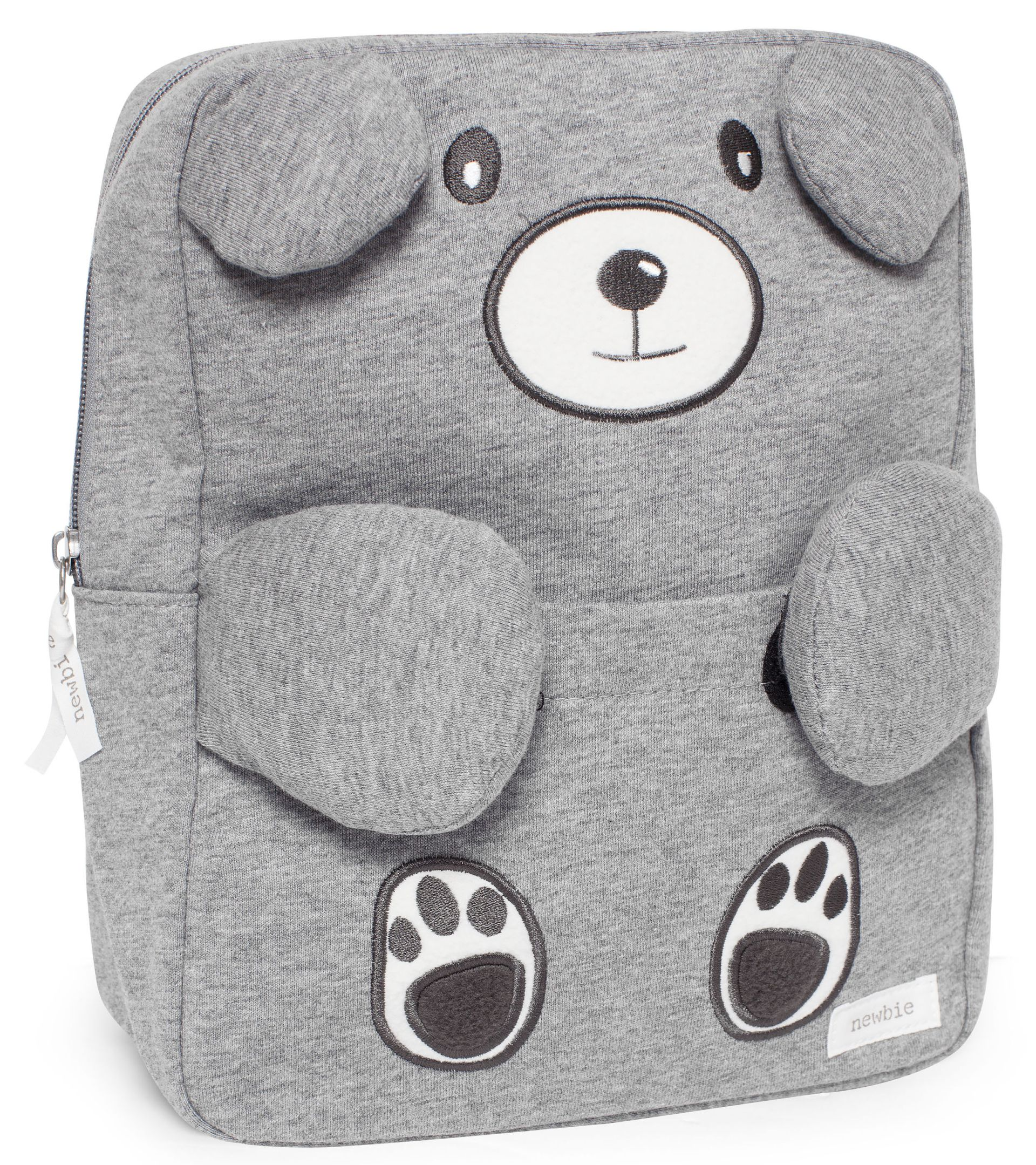 A grey bear backpack by Newbie