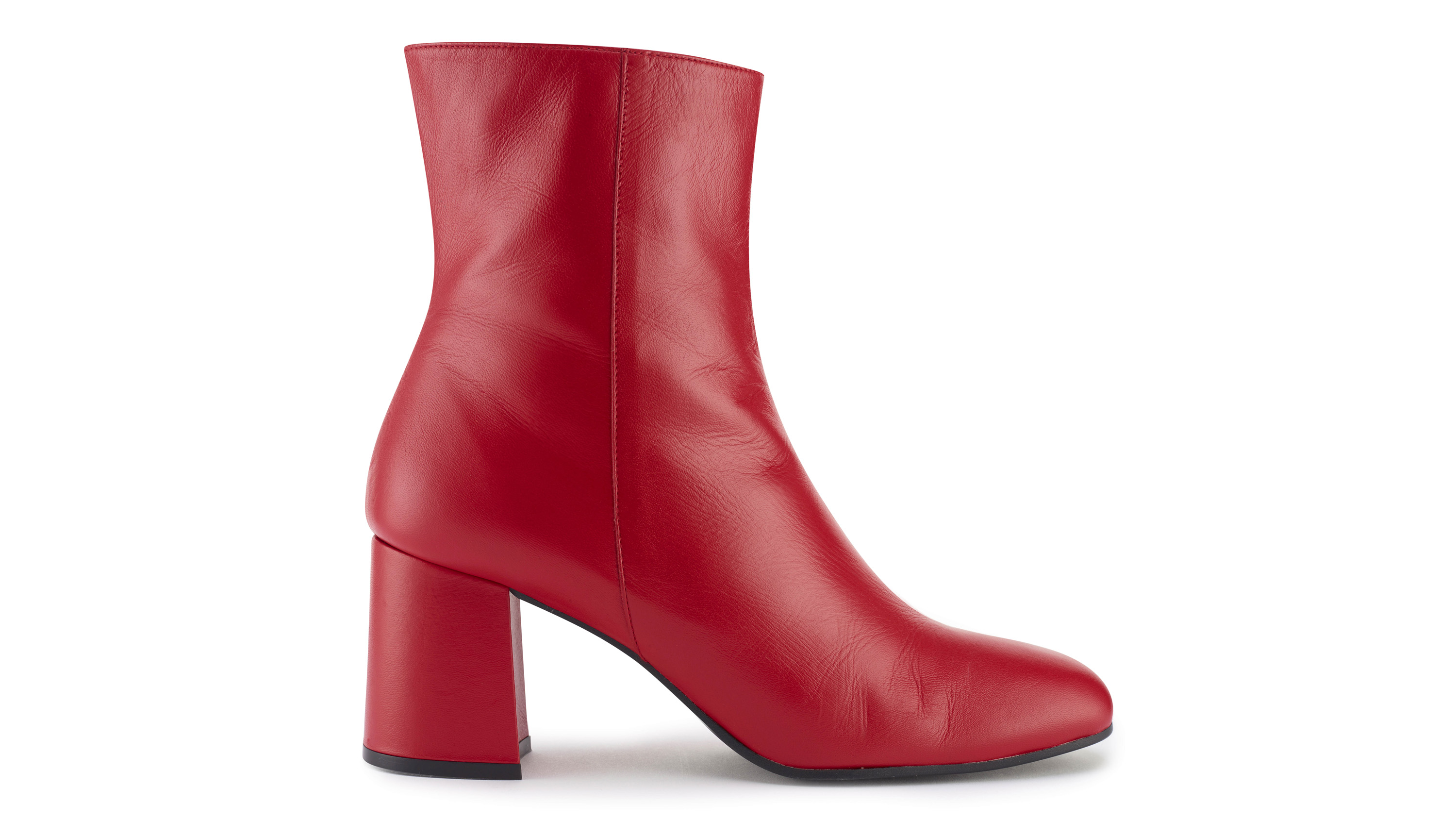 Sosandar Red Leather Ankle Boots