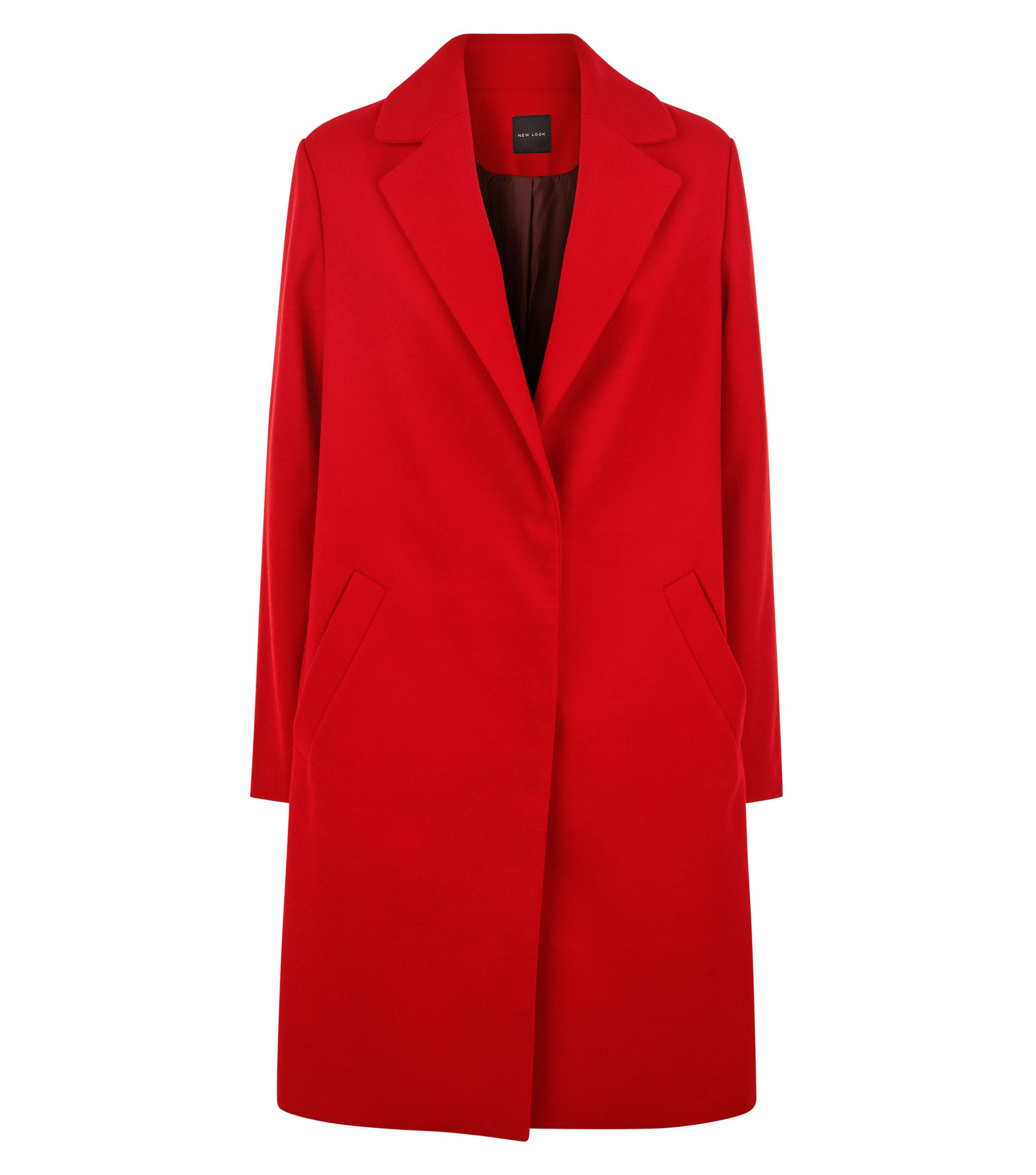 New Look Red Longline Collared Coat