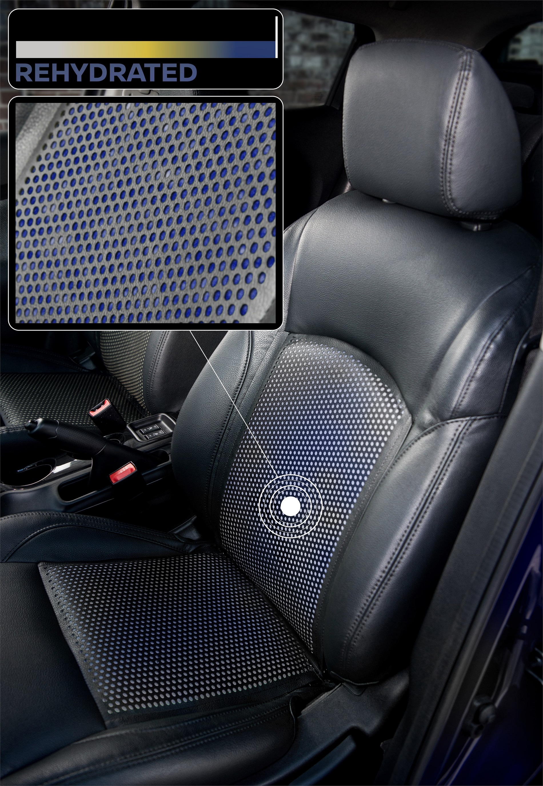 Once the driver is rehydrated, the seat will go blue again (Nissan)