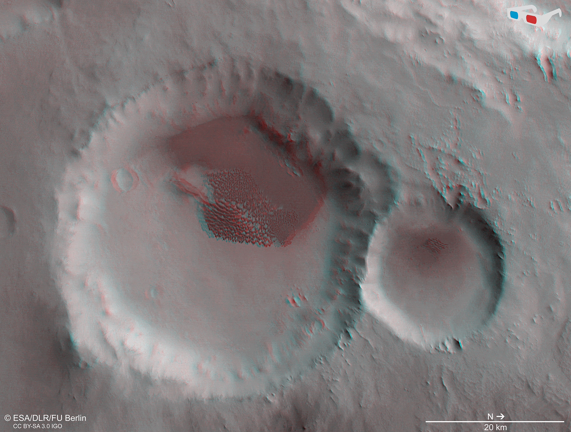 The dune-filled crater rendered in 3D (ESA/DLR/FU Berlin)