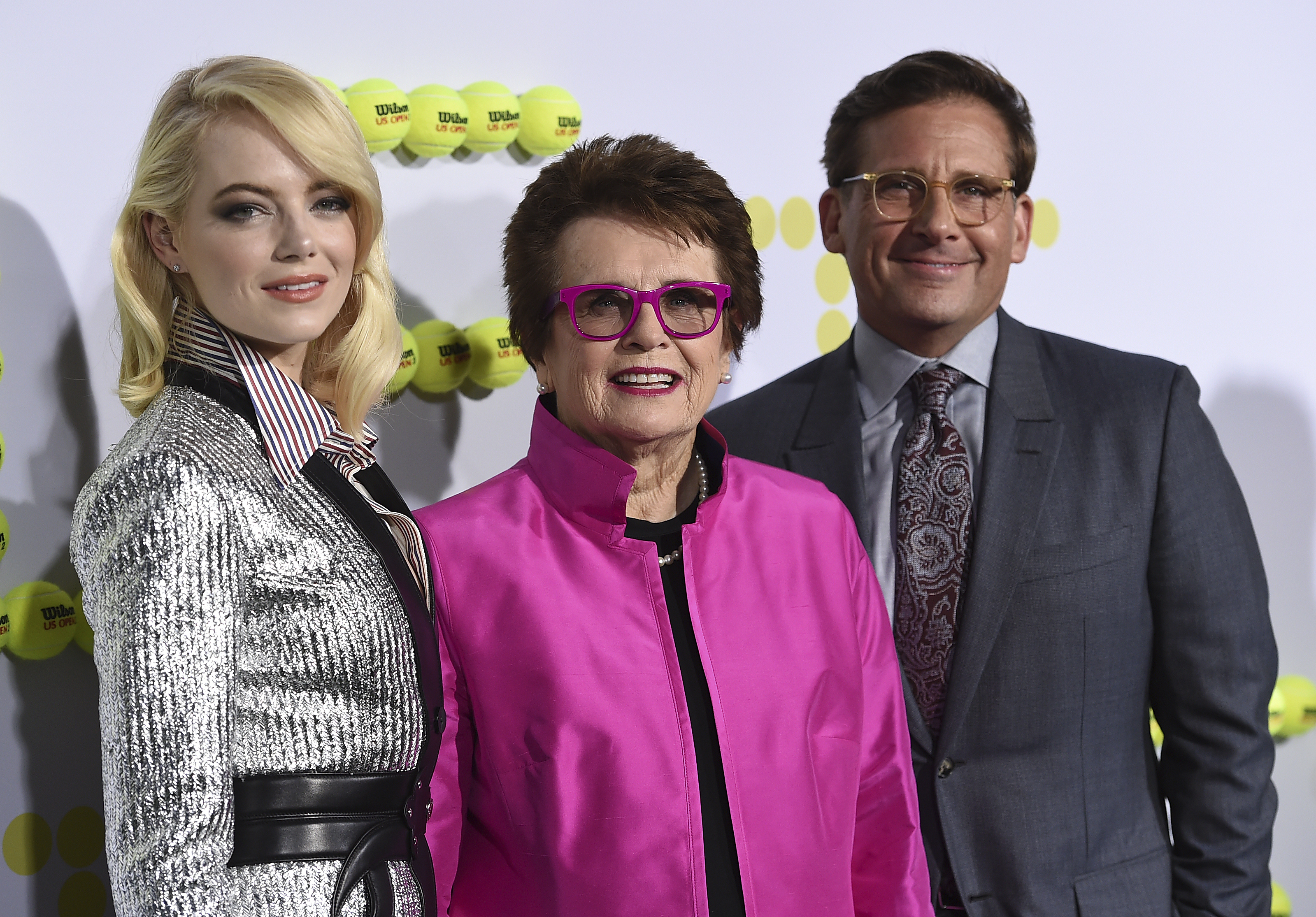 Emma Stone, from left, tennis great Billie Jean King and Steve Carell arrive at the Los Angeles premiere of