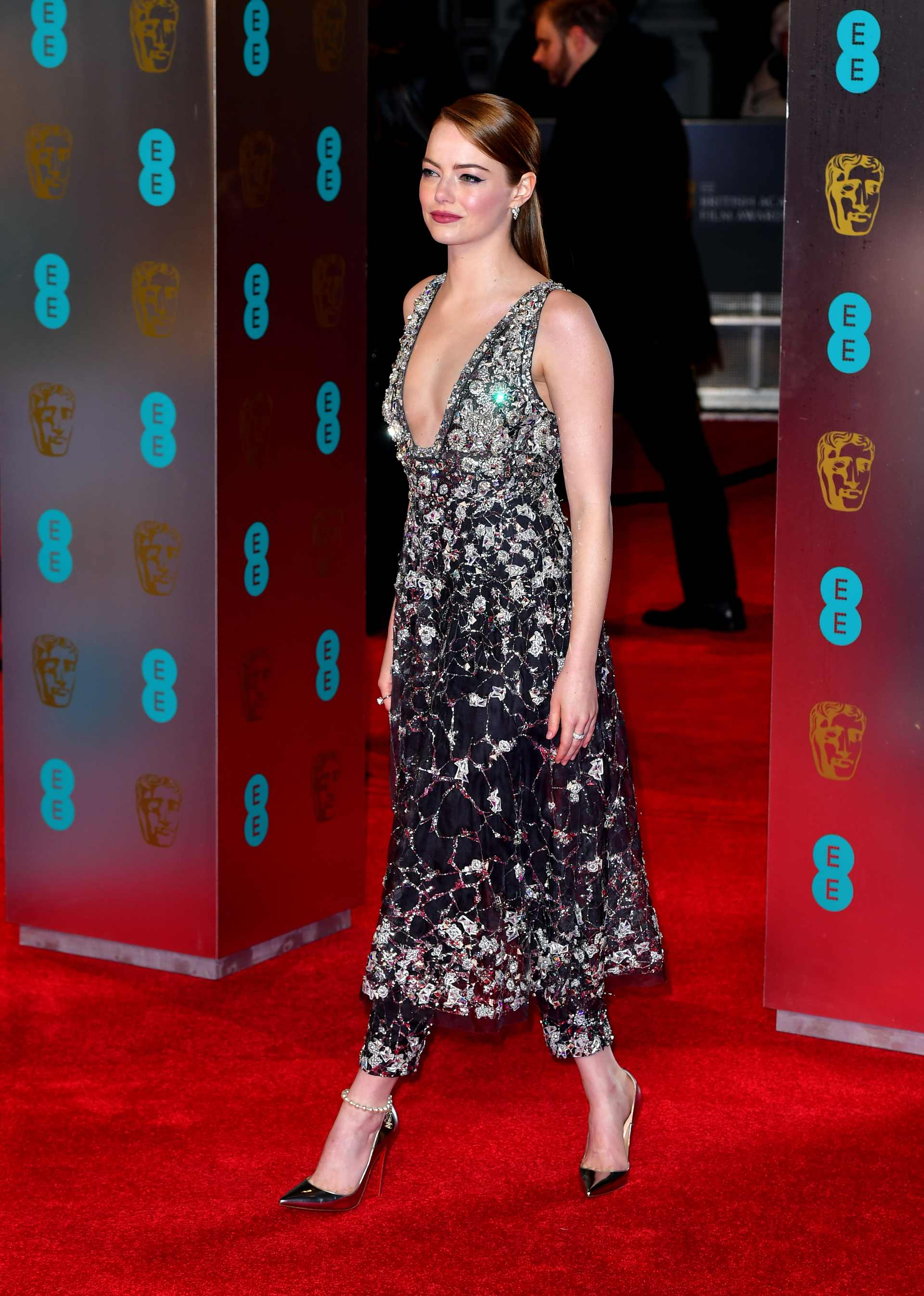 Emma Stone attending the EE British Academy Film Awards held at the Royal Albert Hall, Kensington Gore, Kensington, London.