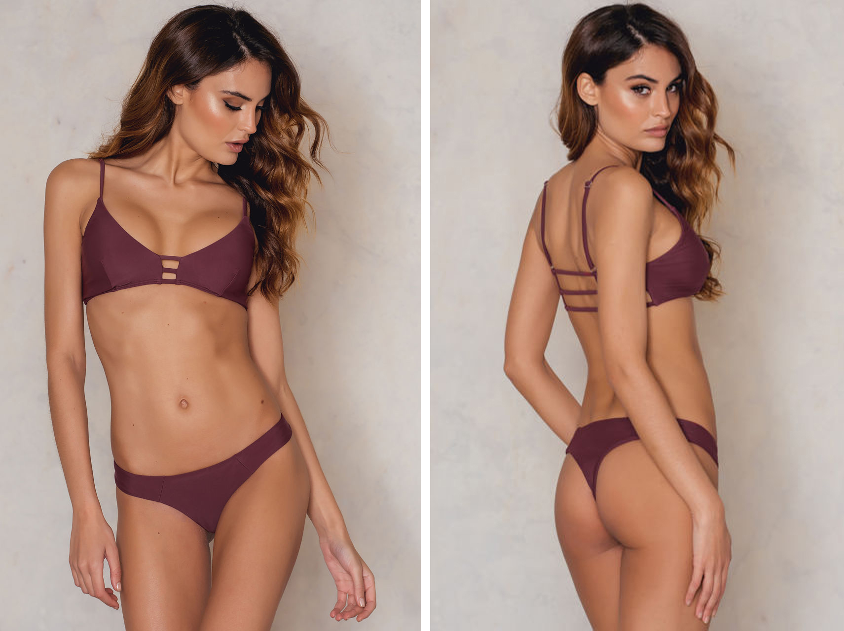 KS 3 Strap Triangle Bikini Top and Panty