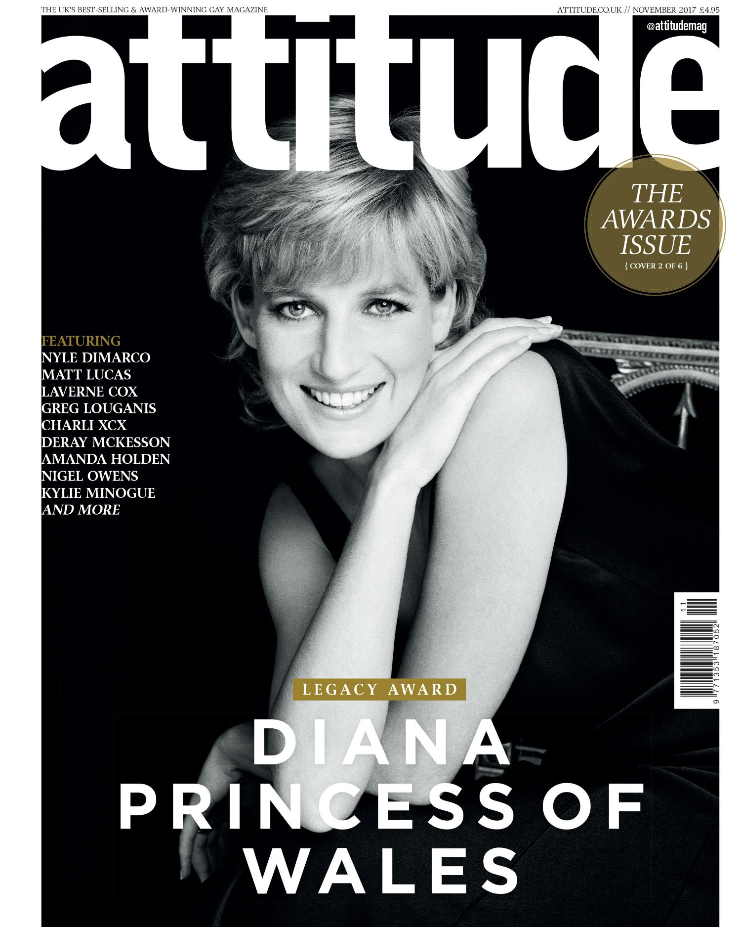 Prince Diana graces the cover of Attitude magazine.