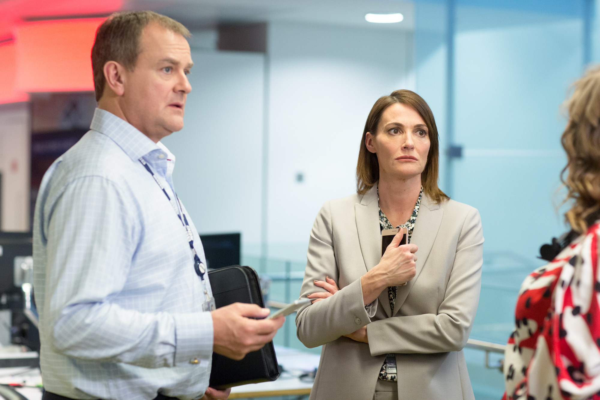 Hugh Bonneville and and Sarah Parish in W1A (Jack Barnes/BBC)