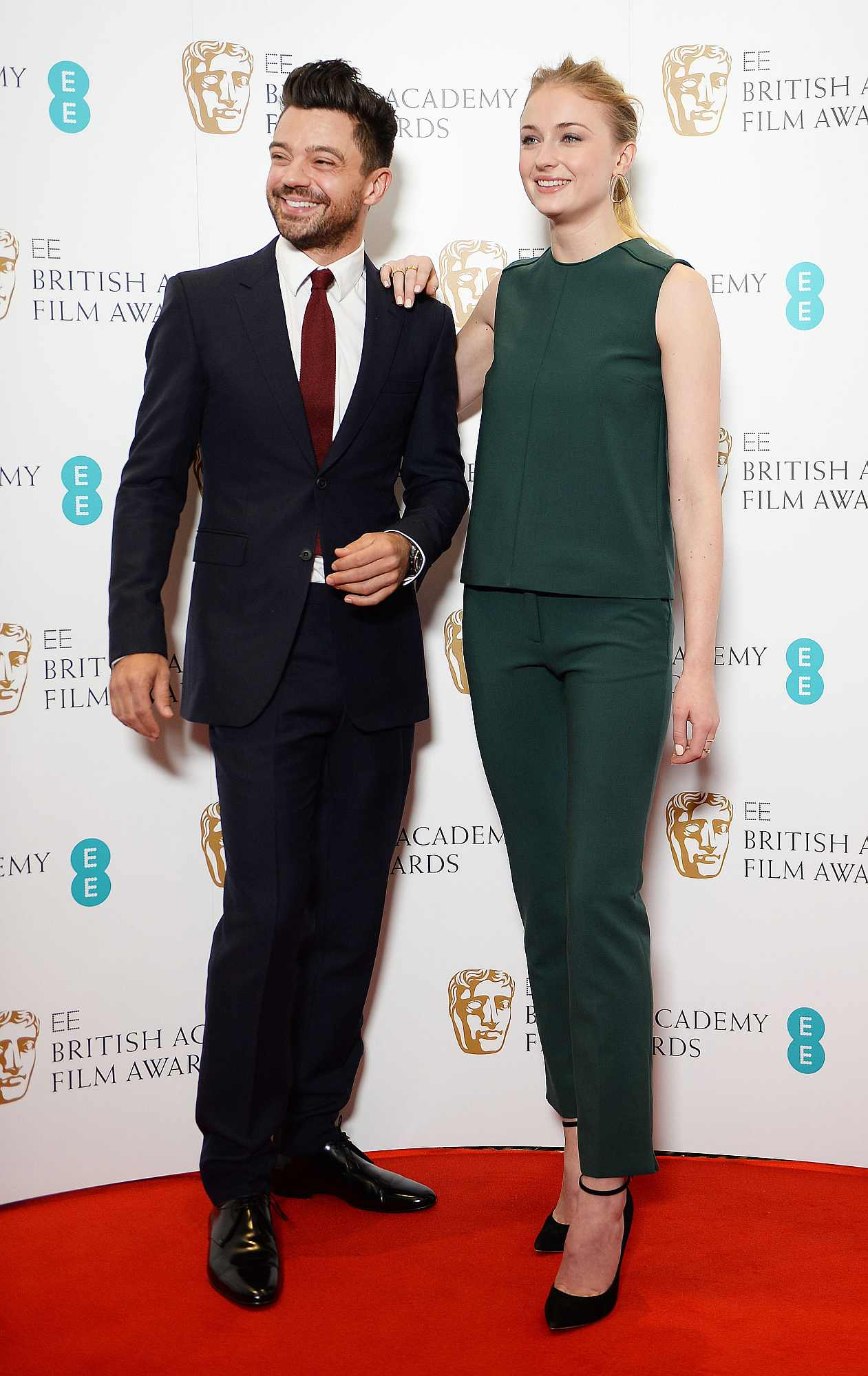 Dominic Cooper and Sophie Turner attending the EE British Academy Awards nominations announcement at BAFTA, London.