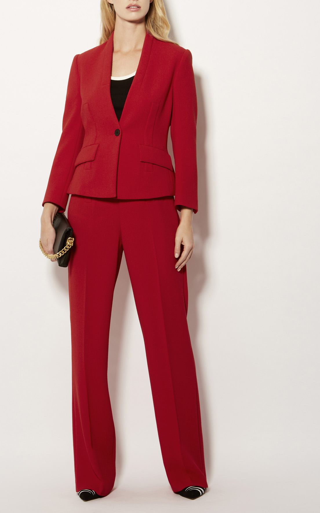 Karen Millen Red Tailored Suit Jacket, £199, and Wide-Leg Trousers, £140