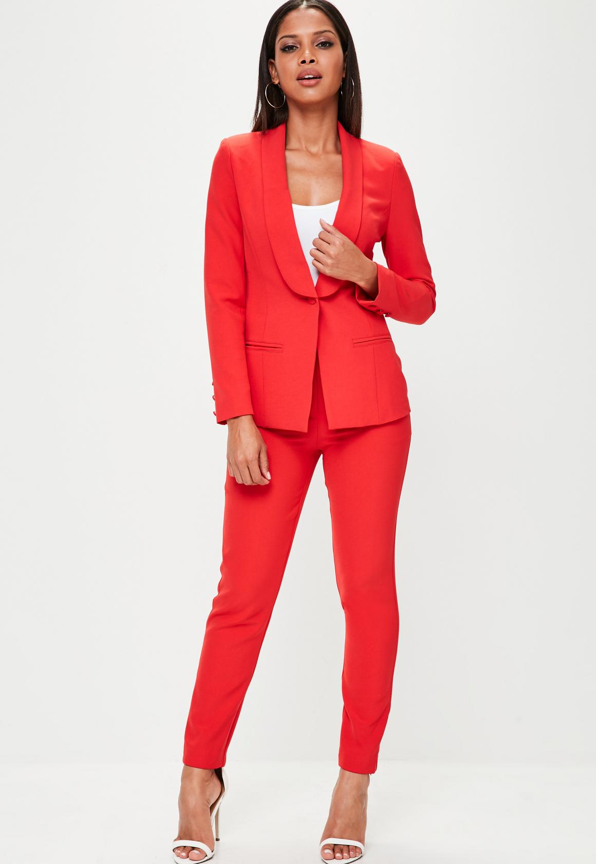 Missguided Red Tuxedo Jacket, £35; Red Skinny Cigarette Trousers, £15