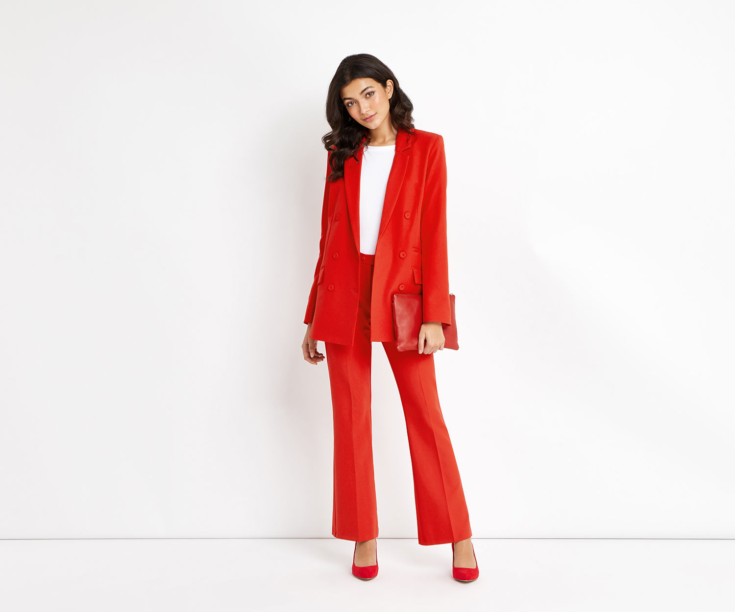 Oasis Ultimate Red Suit Jacket, £65, and Trousers, £40
