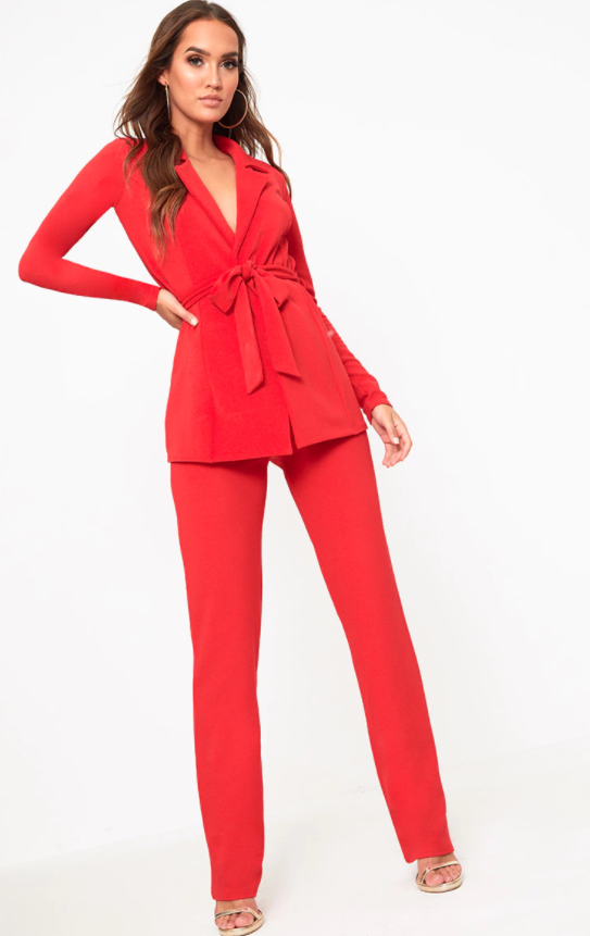 PrettyLittleThing Red Belted Blazer, £20, and Straight Leg Suit Trousers