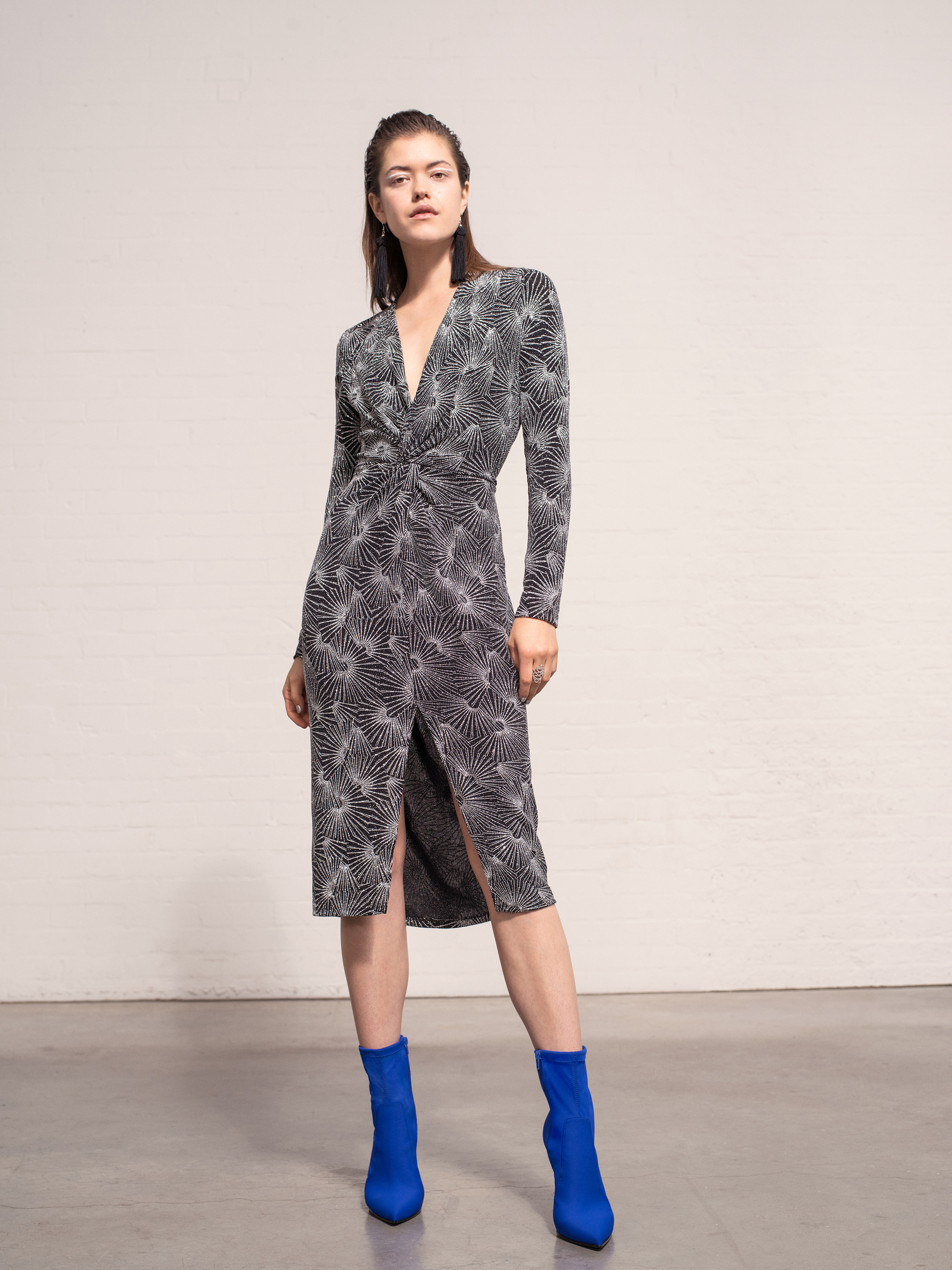 Miss Selfridge Silver Long Sleeve Twisted Pencil Dress, £39; Dayla Stretch Sock Boots, £42