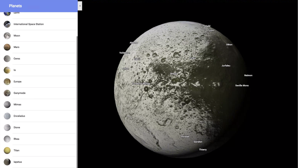 Explore planets and moons in Google Maps