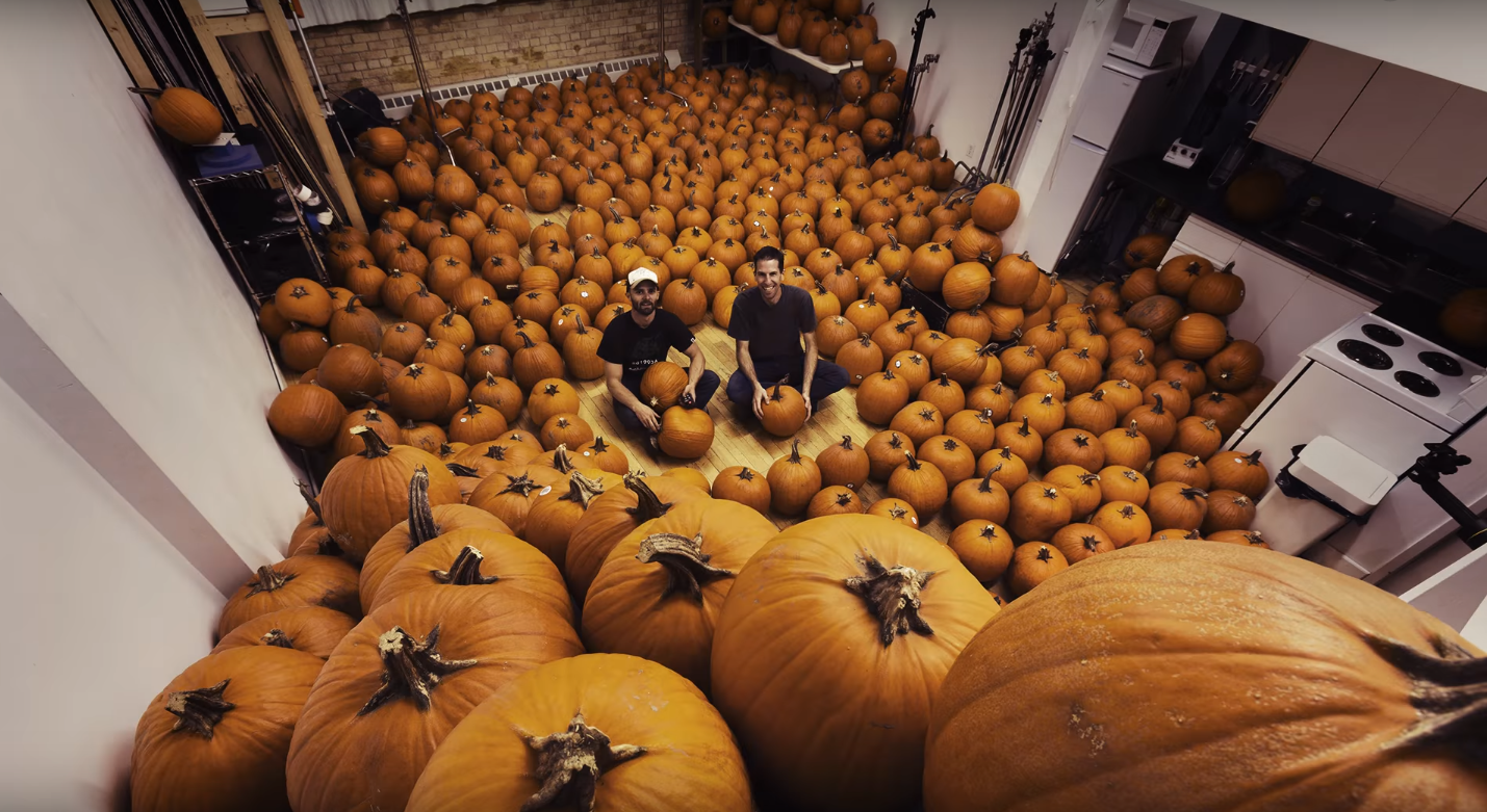 The artists with the pumpkins
