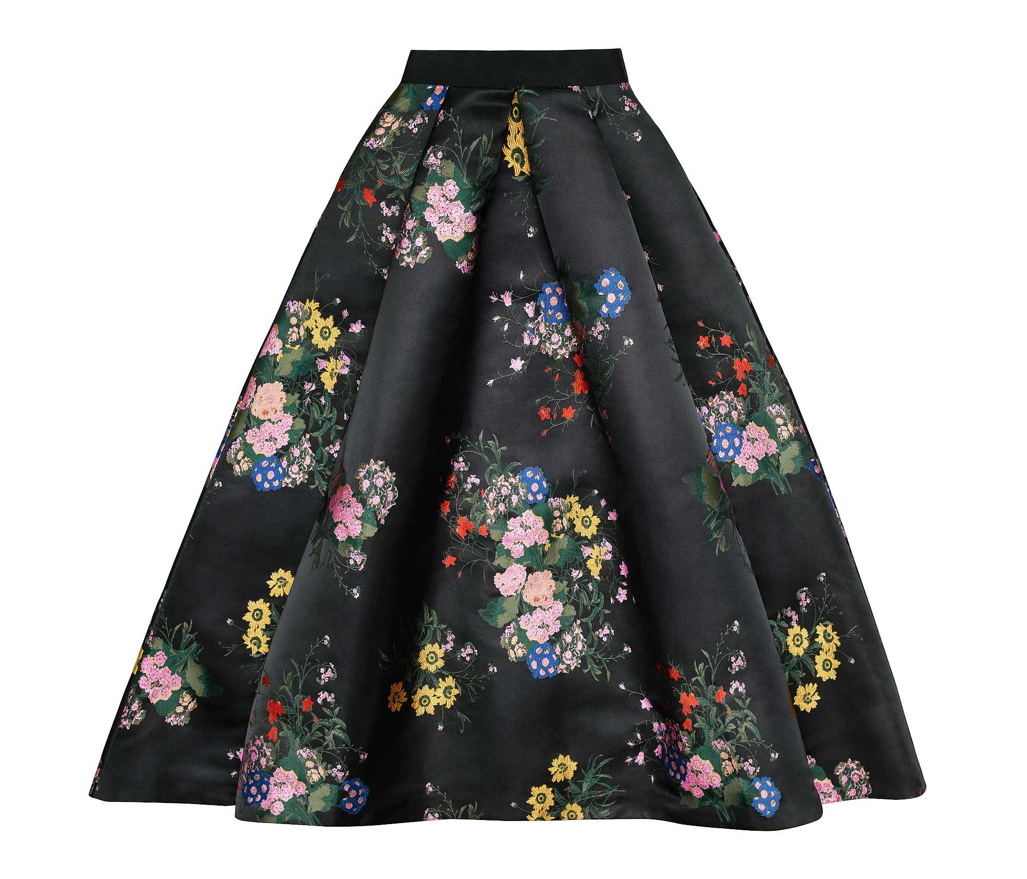 H&M x Erdem Black floral full skirt