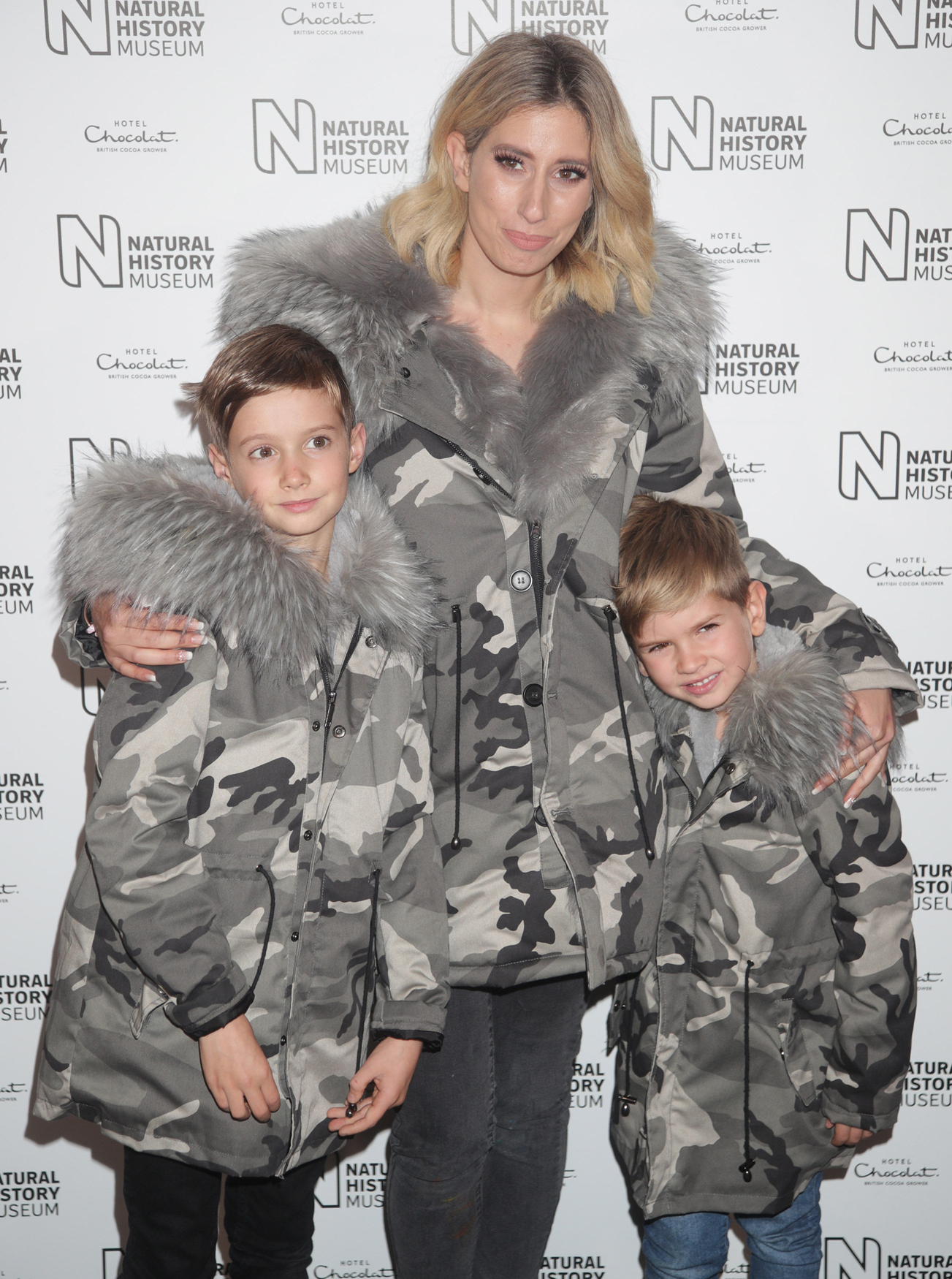 Stacey Solomon and her children , Zachary (left) and Leighton at the launch of the Natural History Museum's ice rink in London, 2017. (Yui Mok/PA)
