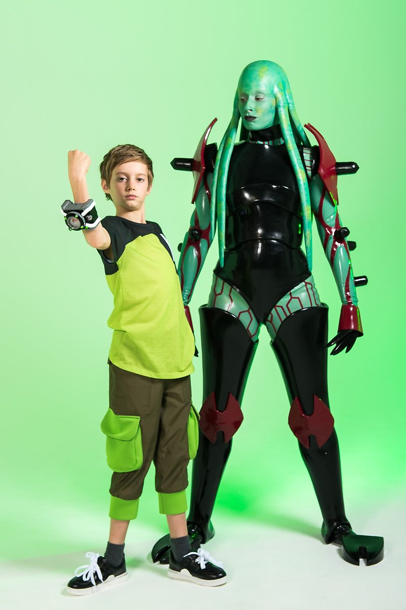 Stacey Solomon transformed into a character from Cartoon Network series Ben 10, in a surprise for her super-fan son Zach. (Tom Horton/Ben 10/PA)