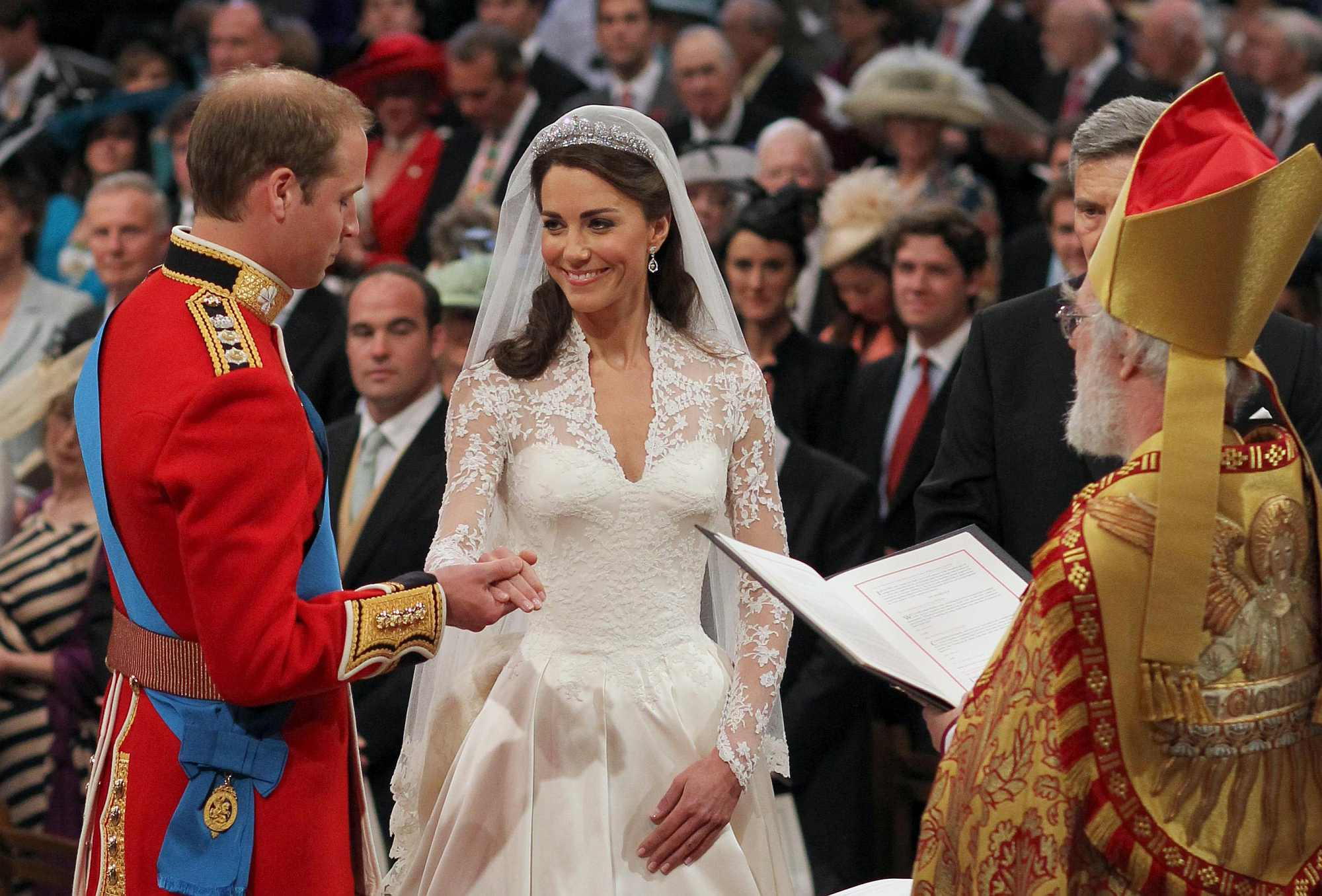 Prince William and Kate Middleton during their wedding at Westminster Abbey, London.