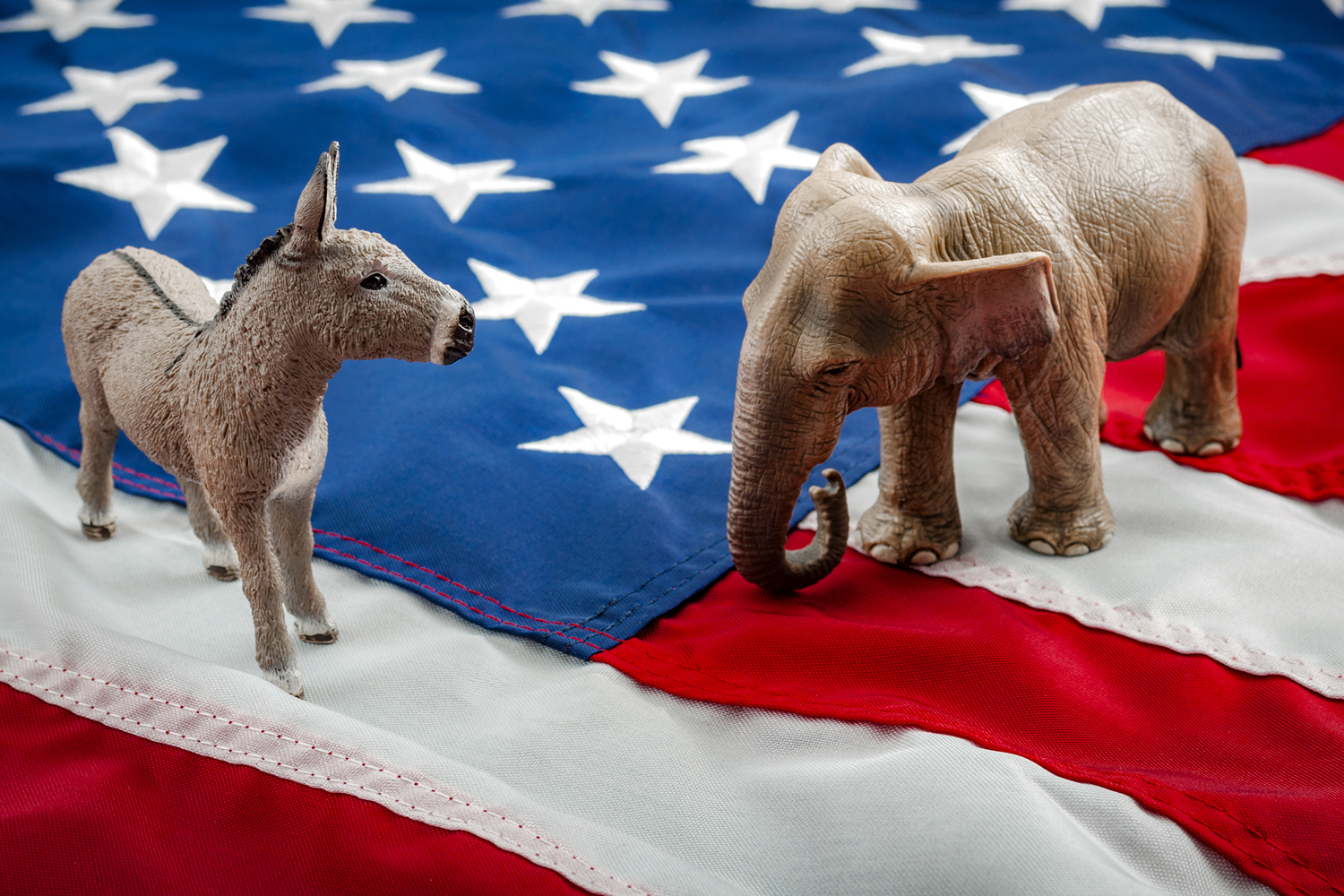 US elections represented by the Democrat donkey and the Republican Elephant