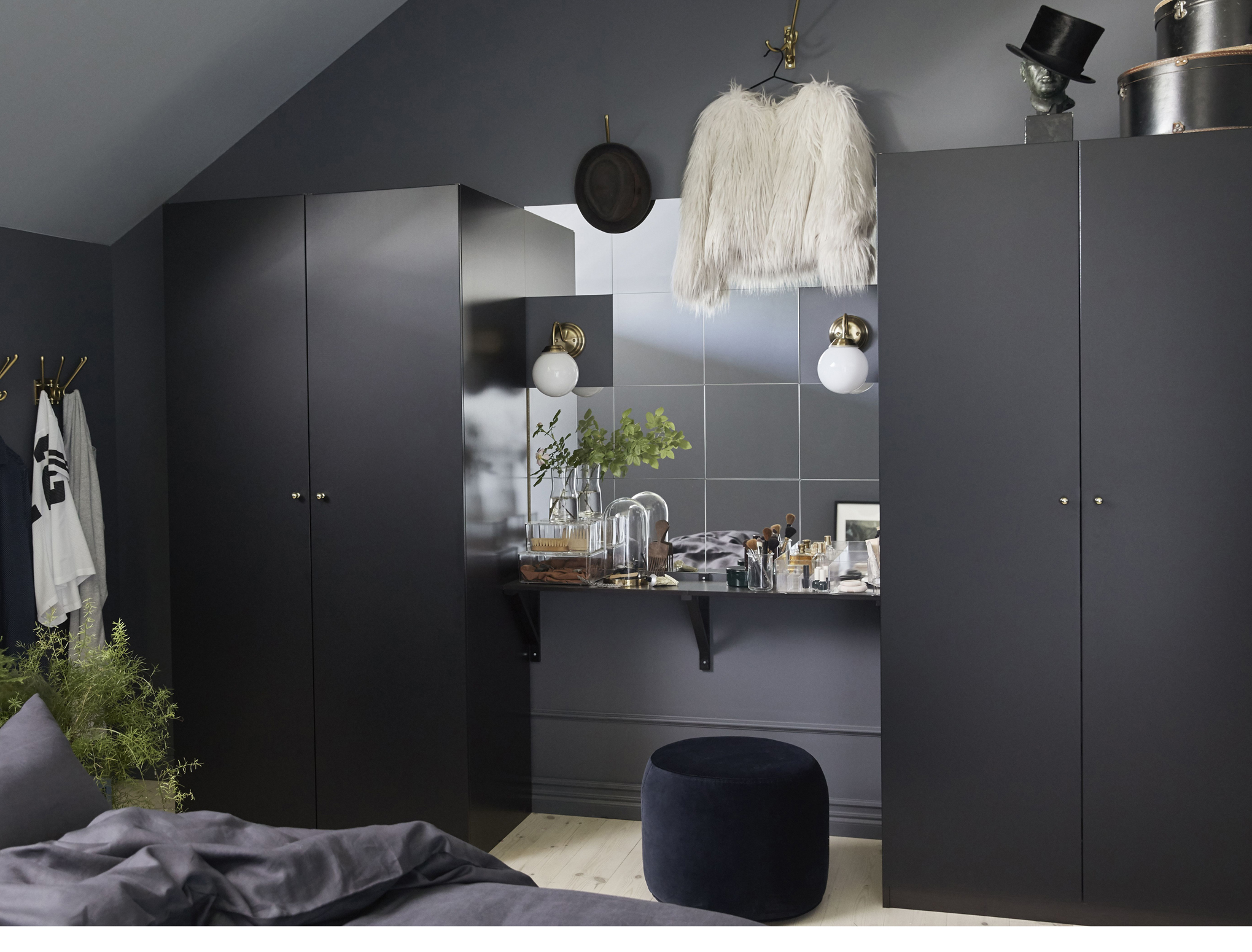 Ekby Valter/Ekby Hemnes Wall Shelf, £16; Lots Mirror, £4.99 for pack of four; Pax Wardrobe, £130, and Lillholmen Wall Lamp, £12, Ikea