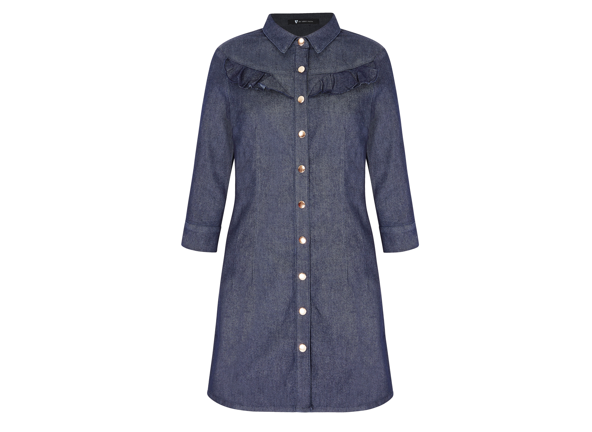 V by Very Petite Frill Detail Denim Dress