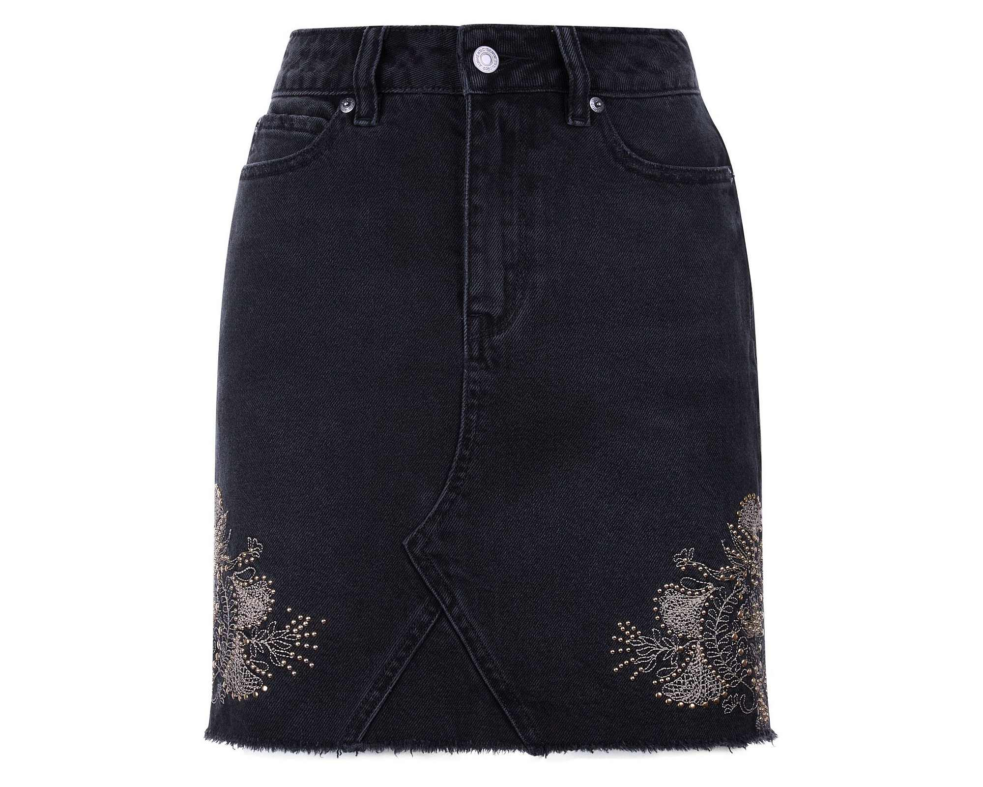 New Look Black Stud Embroidered High Waist Denim Skirt