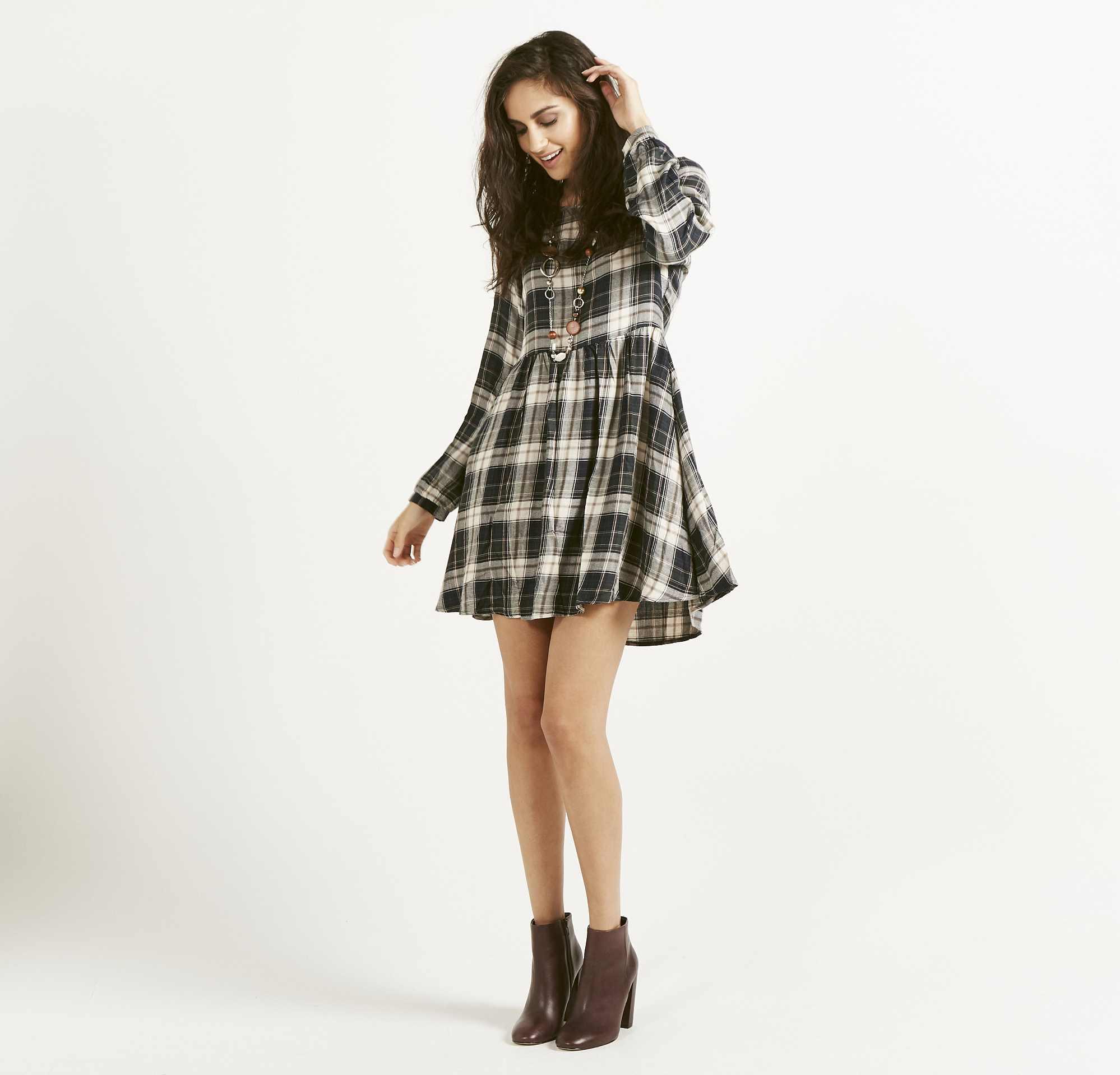 model wearing Apricot Oversized Check Smock Dress