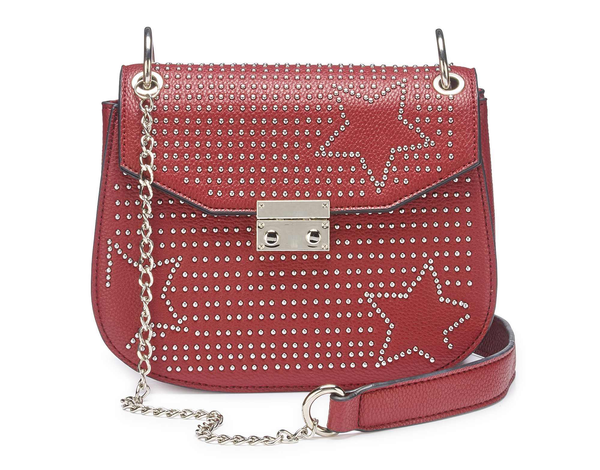 JD Williams Charlotte Red Studded Saddle Bag