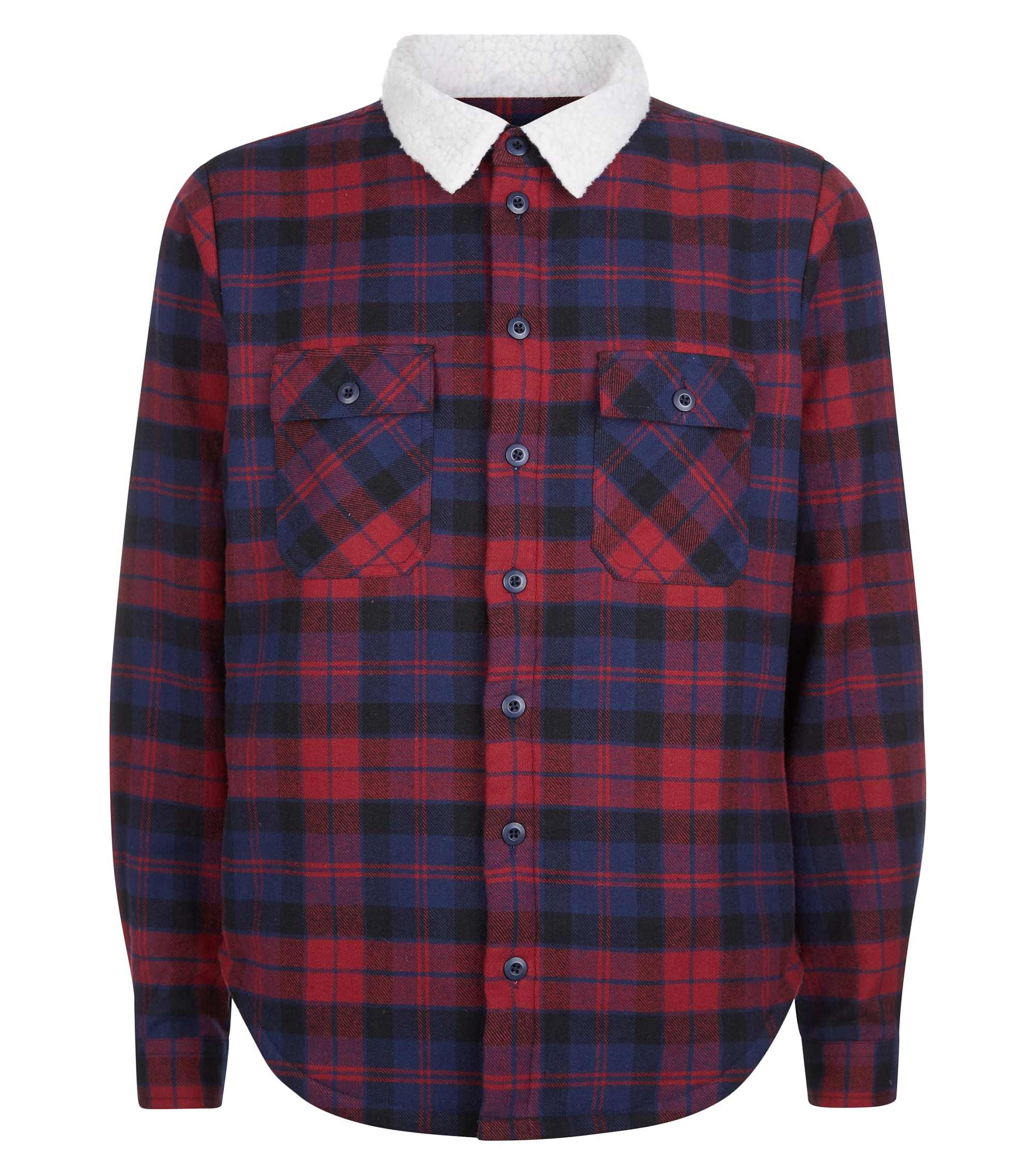New Look Men's Red Check Shirt with Borg Collar