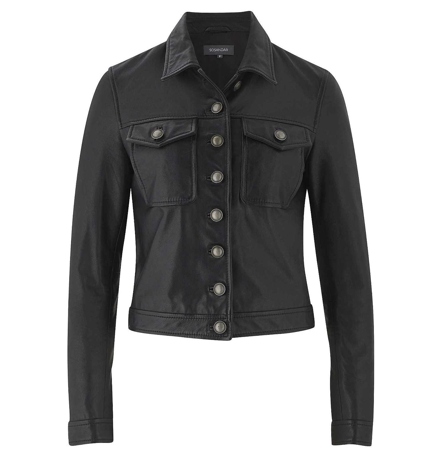 Sosandar Black Leather Western Jacket