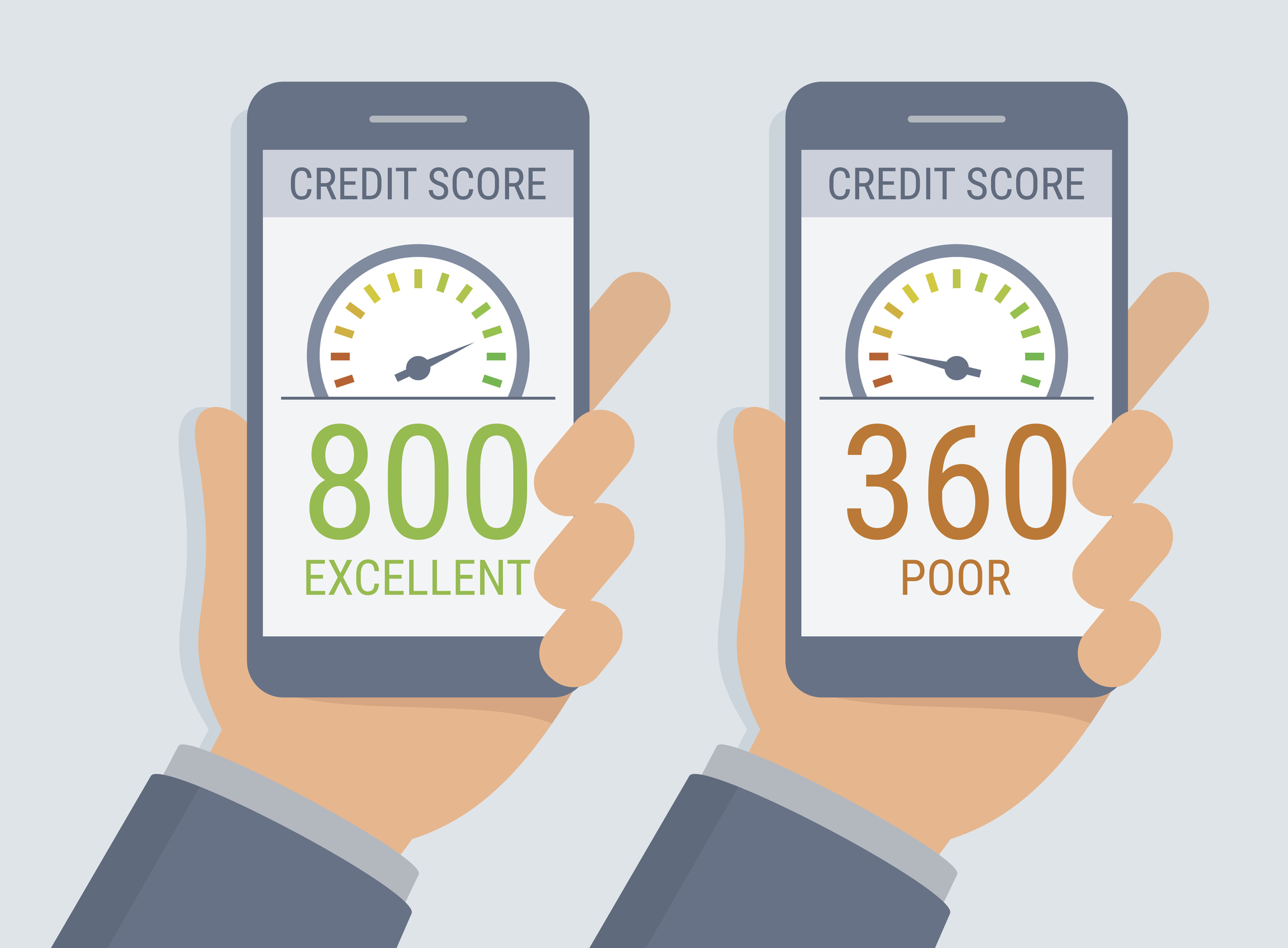 Illustration of two hands holding smartphones with credit score app on the screen (Thinkstock/PA)