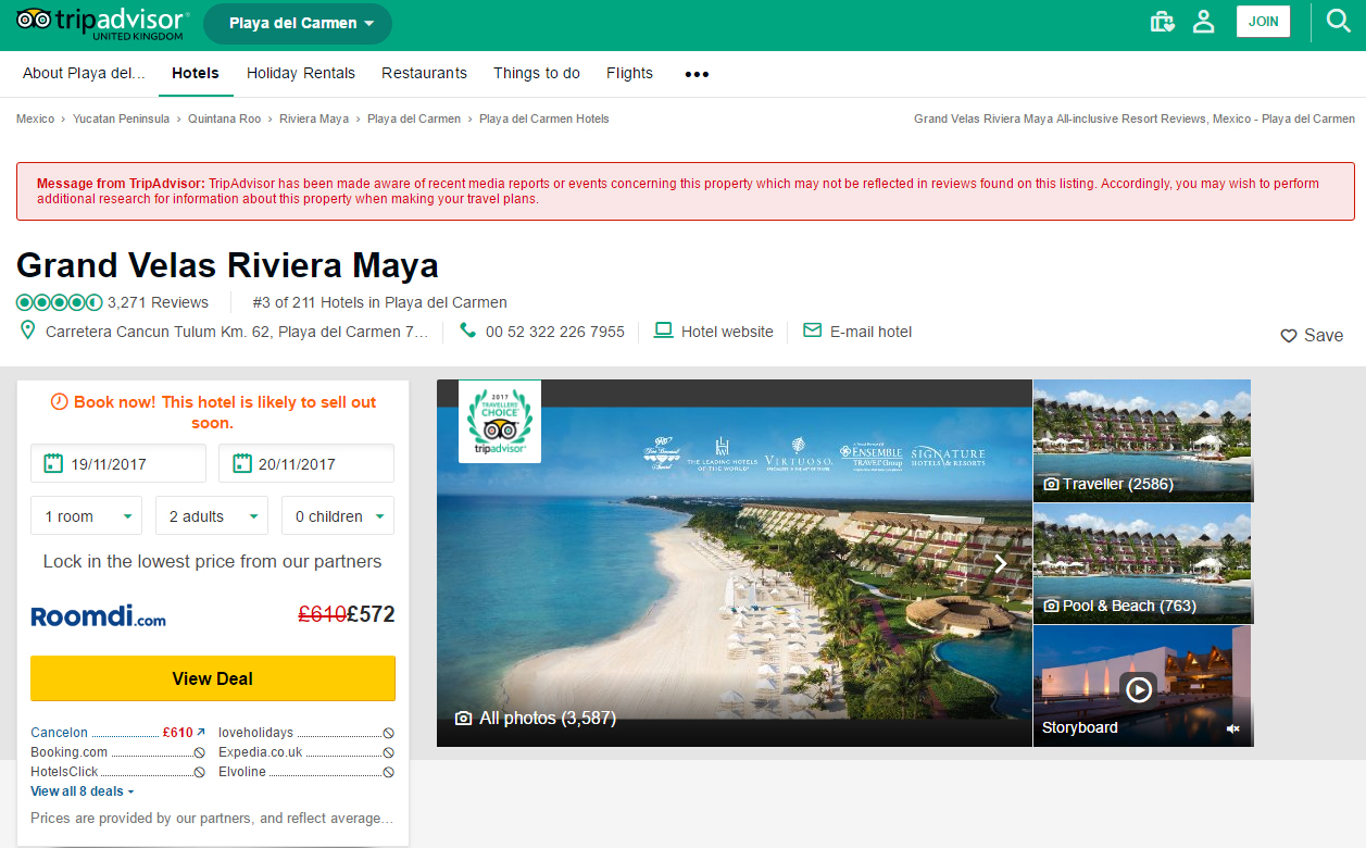 The current TripAdvisor page for Grand Velas Riviera Maya in Mexico (TripAdvisor/PA)