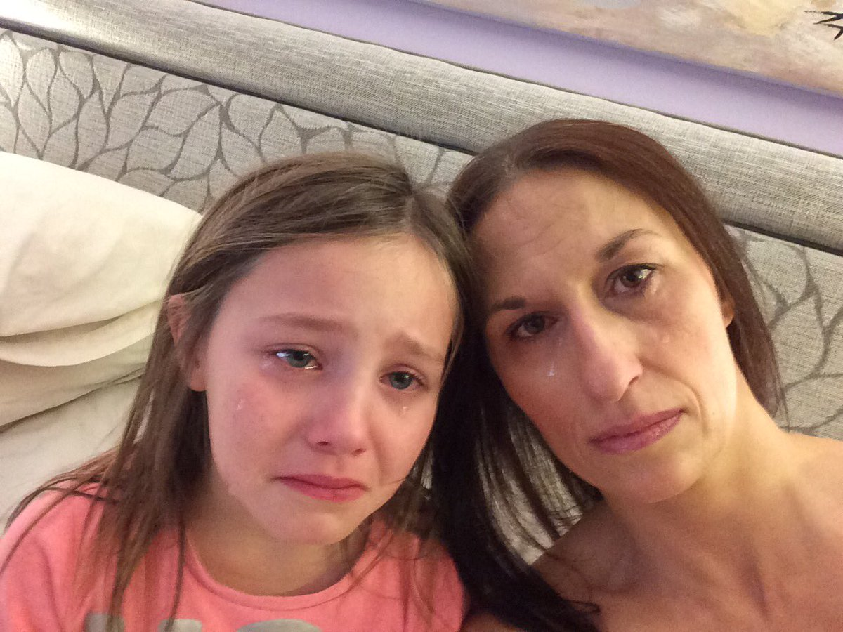Vicky Finley and daughter Ella crying after the John Lewis ad