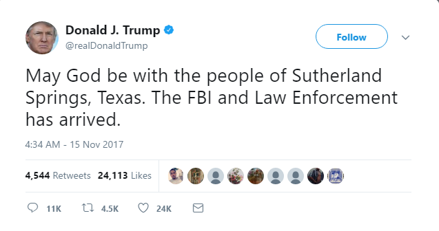 Donald Trump is accused of tweeting condolences to the WRONG mass shooting by 'copy and pasting' church shooting