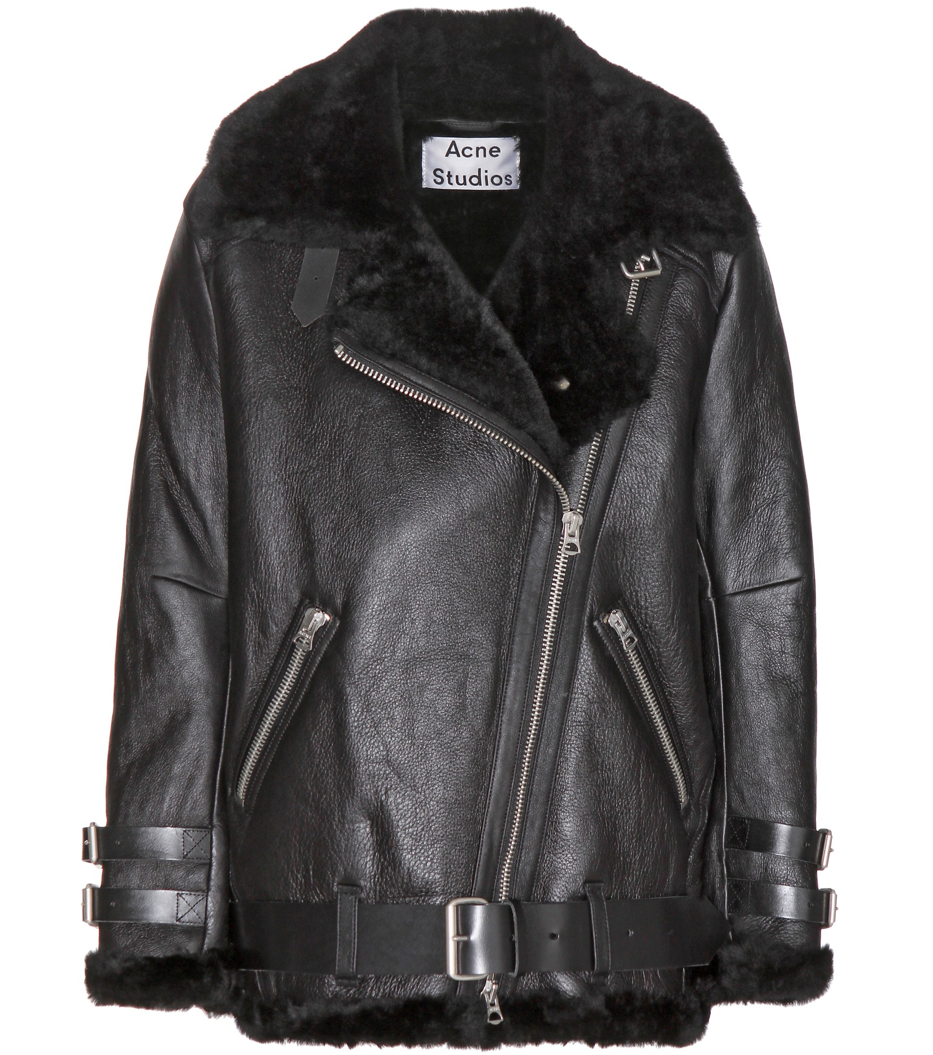 Acne Velocite Shearling-Lined Leather Jacket