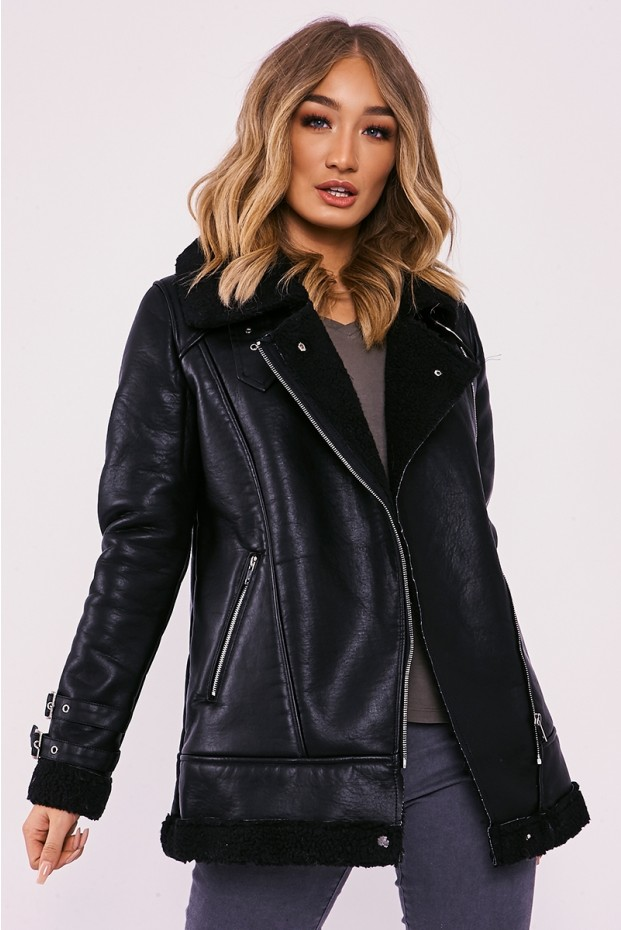 IntheStyle Kinleigh Black Faux Leather Aviator Jacket