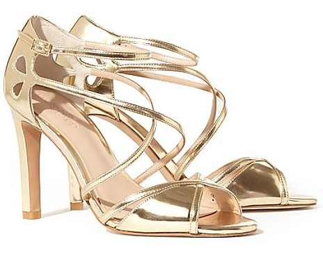 Phase Eight Pippa Gold Leather Sandals